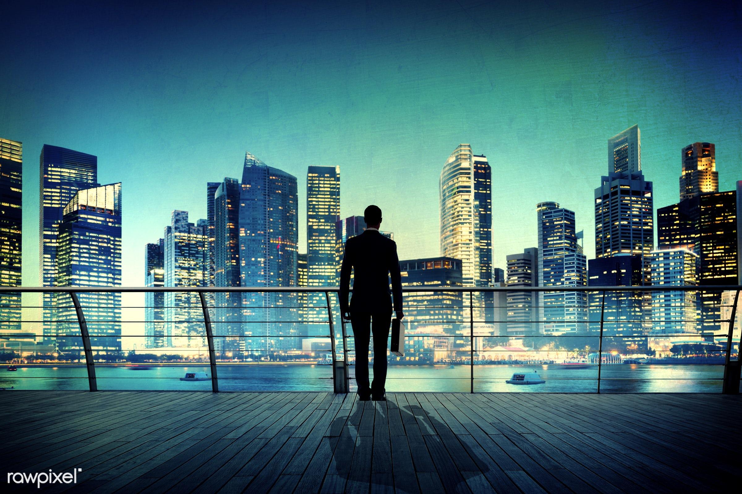 alone, back lit, boat, briefcase, building, business, businessman, city, city lights, cityscape, contemplation, deck, fence...