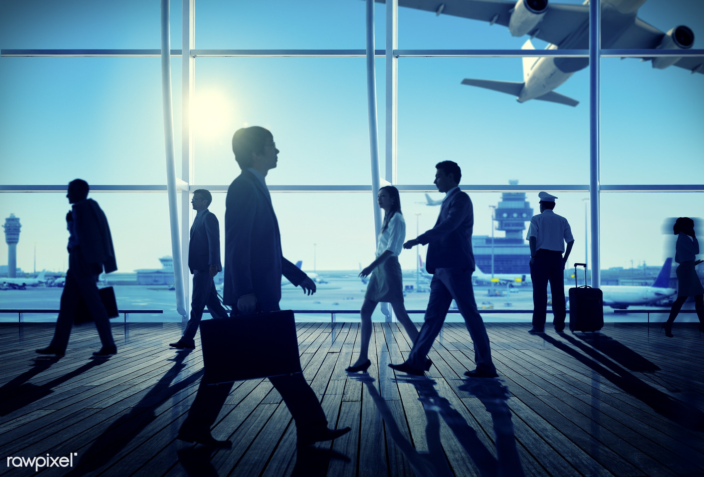 aircraft, airplane, airport, aviation, back lit, building, business, business people, businessmen, businesswomen, city, city...