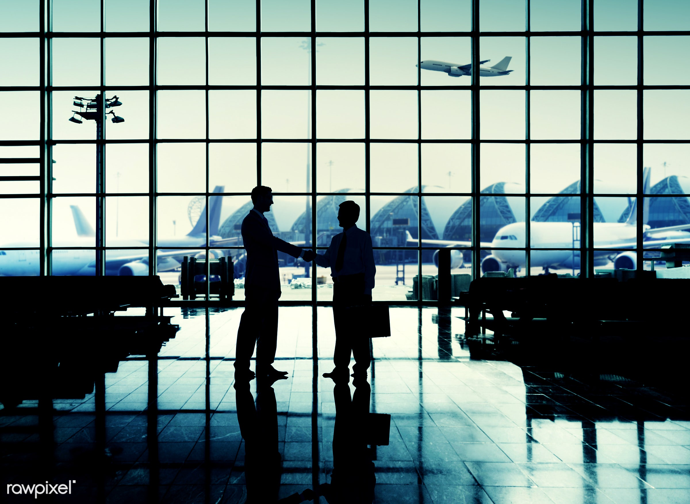 agreement, aircraft, airplane, airport, business people, business travel, businessmen, cheerful, communication, corporate,...