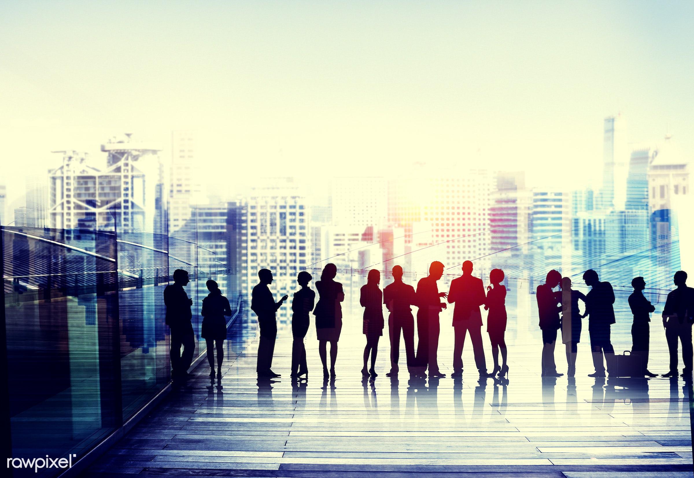 backlit, building, business, business people, businessmen, businesswomen, cityscape, colleagues, communication, connection,...