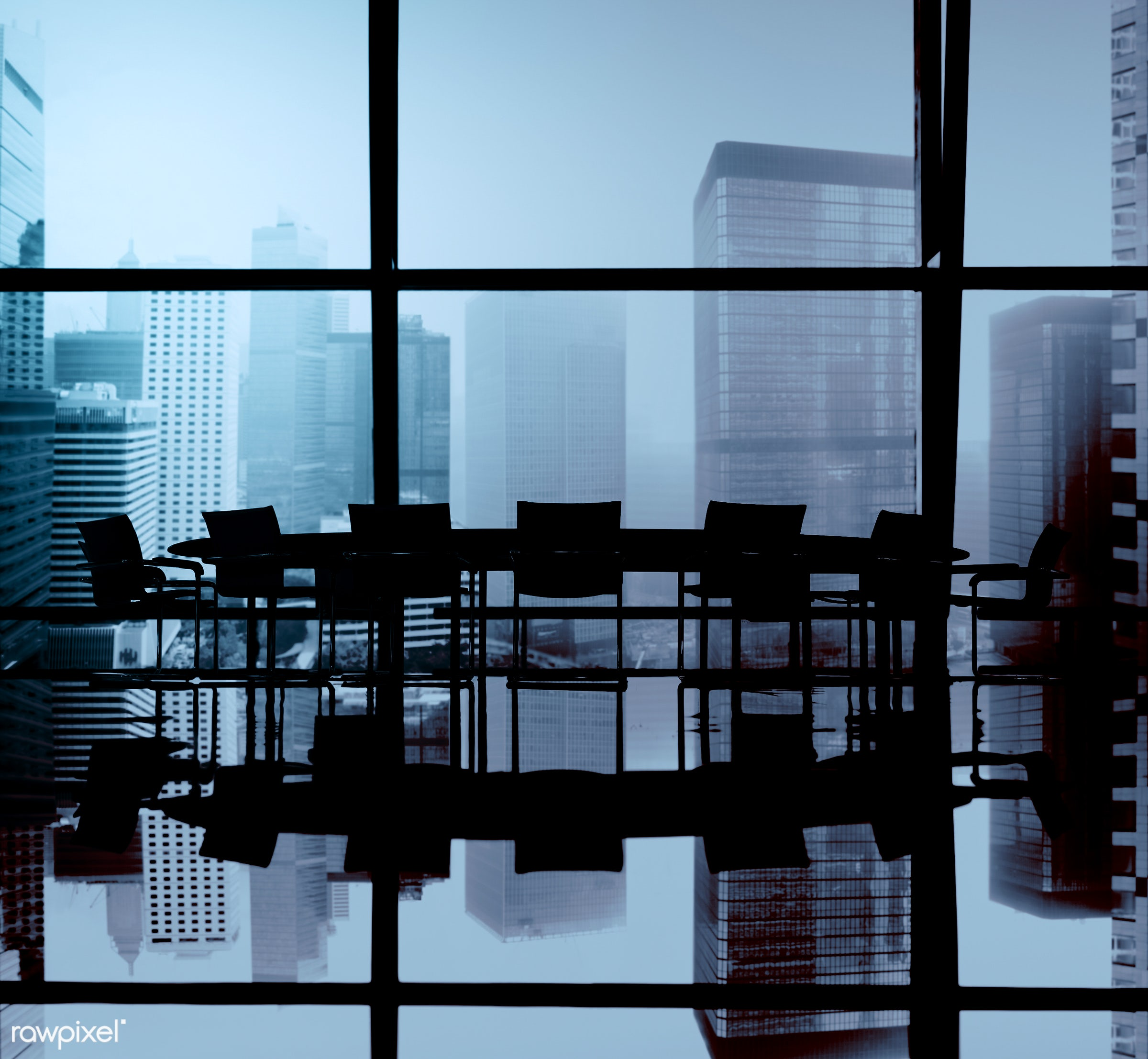 backlit, board room, buildings, chairs, city, cityscape, conference table, group of objects, indoors, meeting table, nobody...