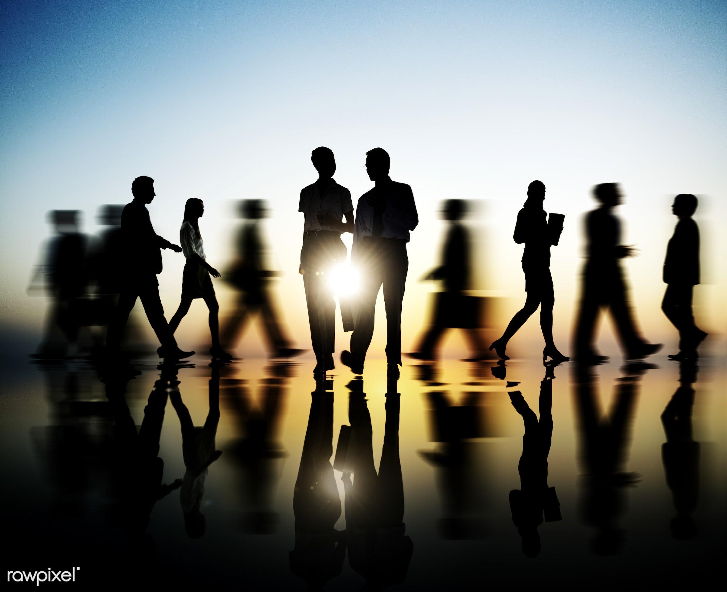Dusk, back lit, blurred, business, businessmen, businesswomen, city, colleagues, community, commuter, confidence, connection...