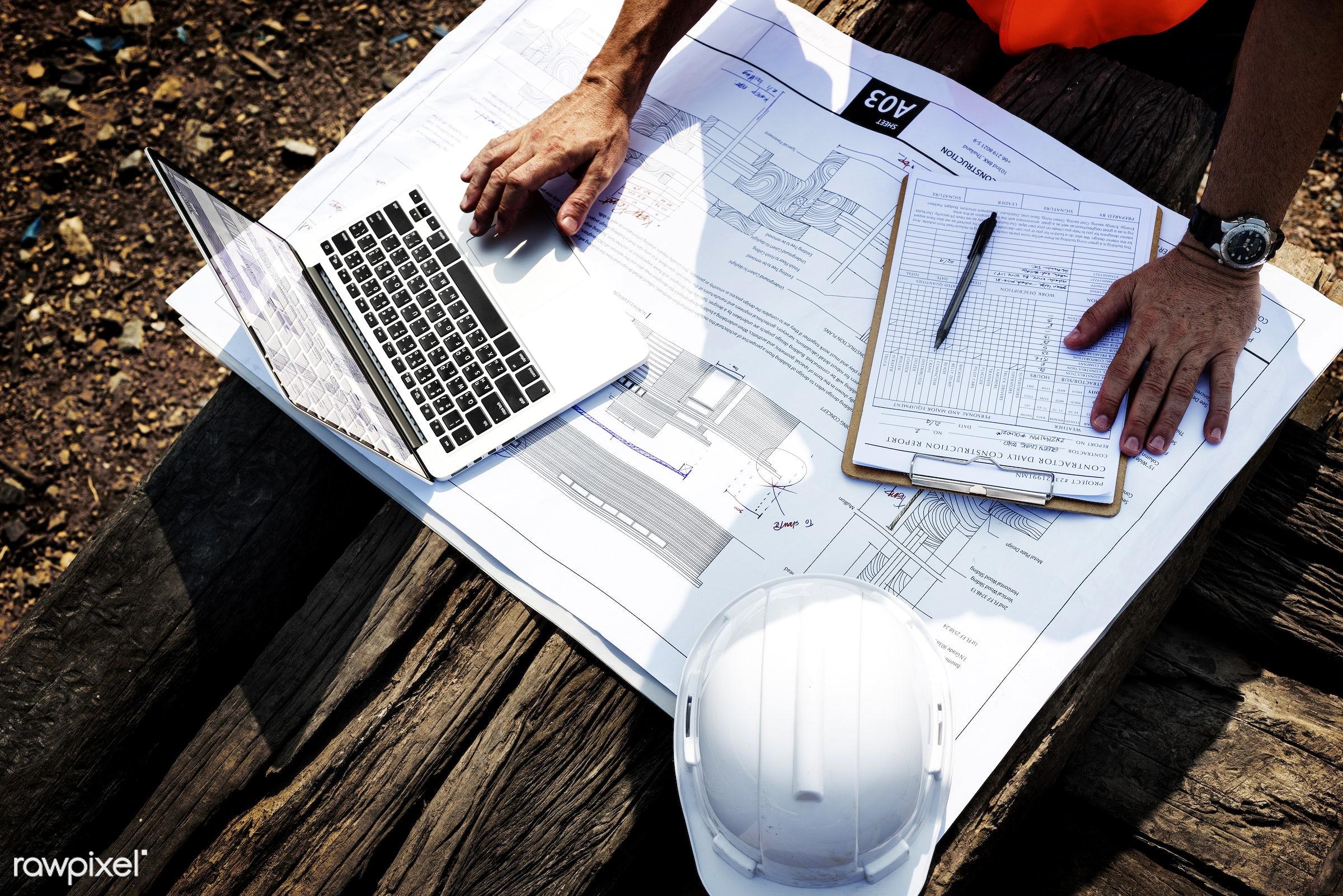Construction site - building, engineering, construction, architecture, blueprint, built, career, check, closeup, computer,...