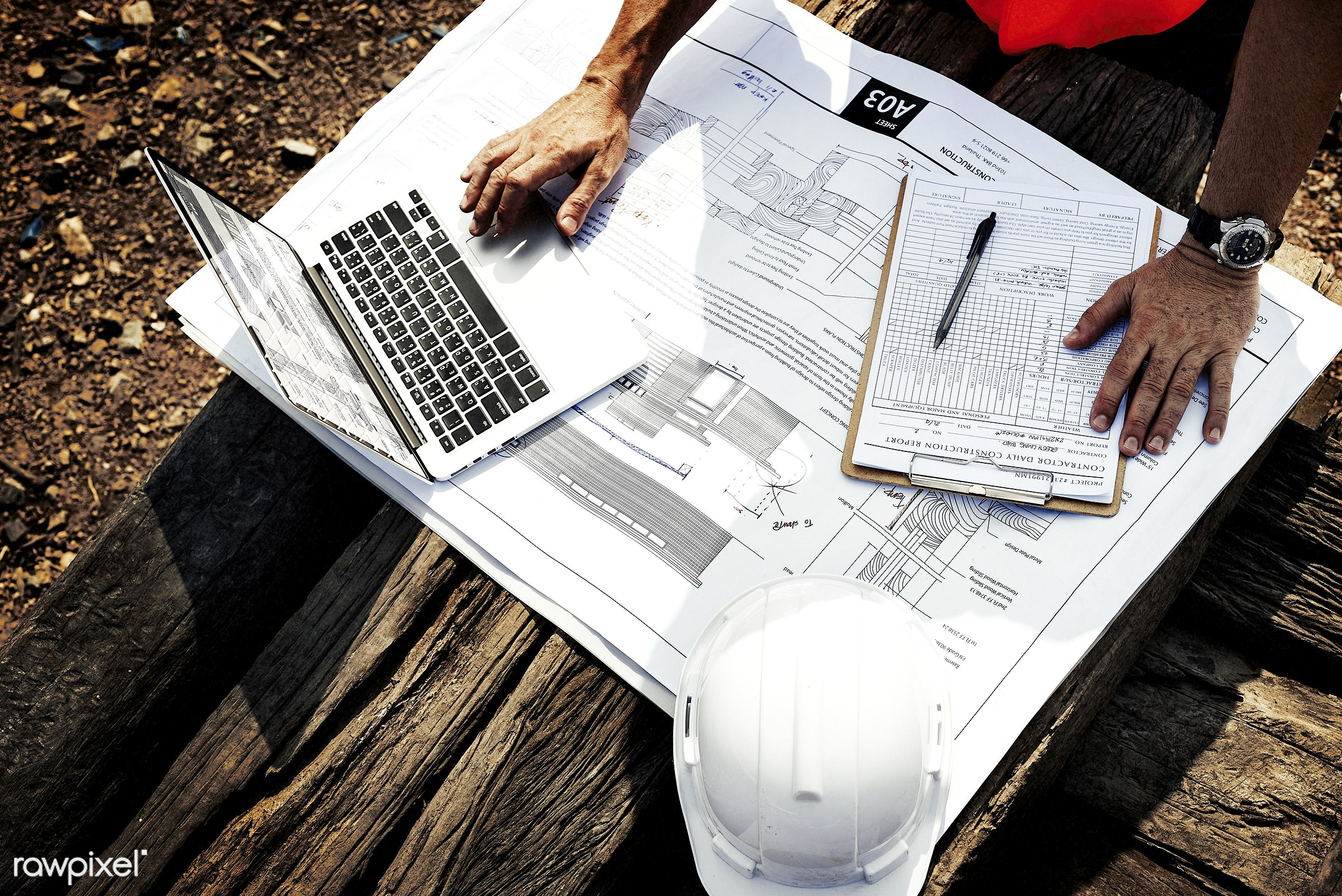 Site engineer on a construction site - construction, engineering, supervisor, aerial, architecture, blueprint, building,...