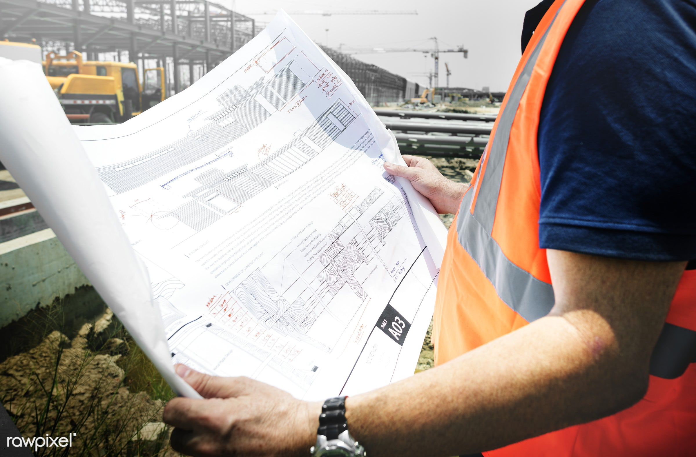 Site engineer on a construction site - engineer, construction, worker, architecture, blueprint, building, built, career,...