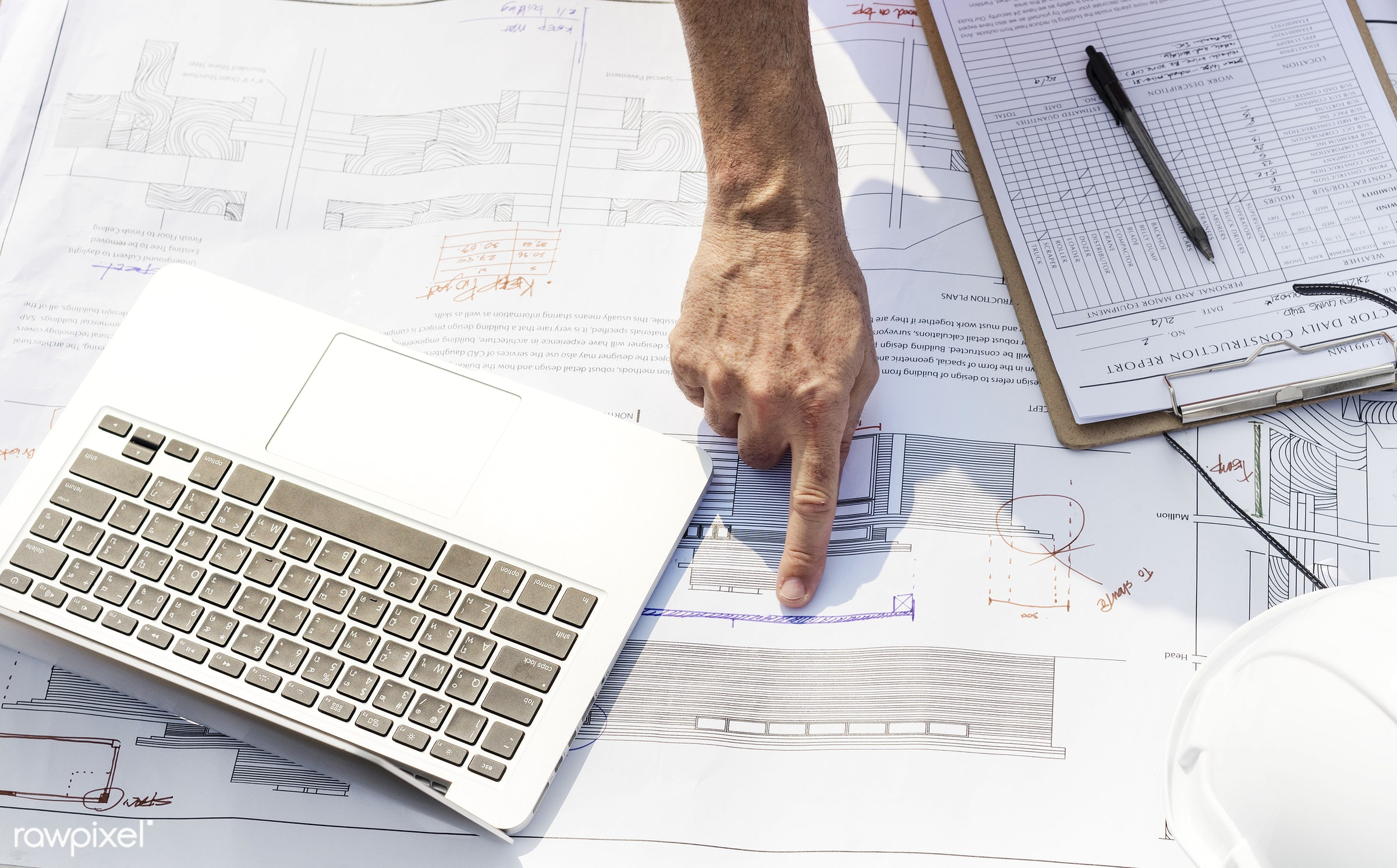 Construction site - engineering, project, aerial, architecture, blueprint, building, built, career, check, closeup, computer...