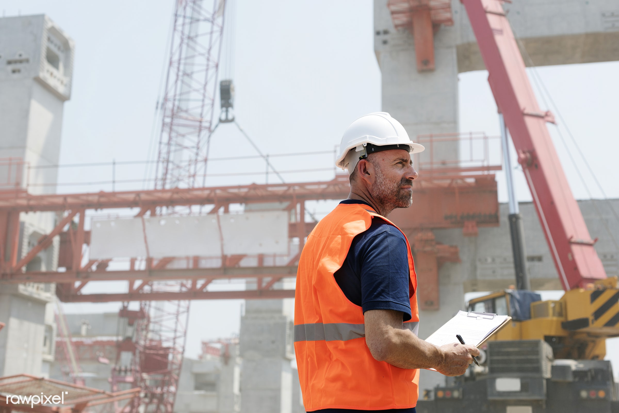Site engineer on a construction site - construction, engineer, engineering, worker, architecture, blueprint, board, building...