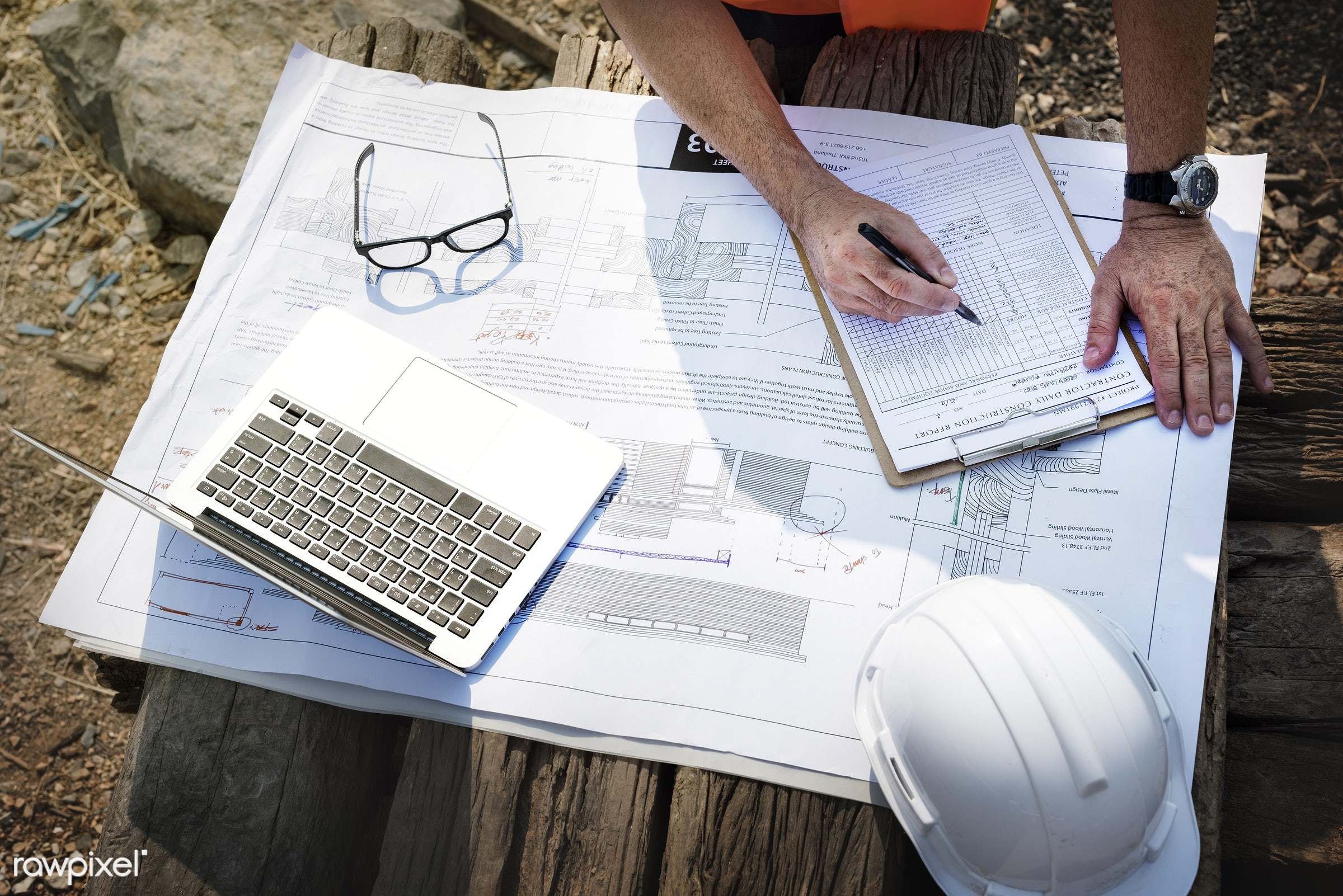 Site engineer on a construction site - construction, engineer, architecture, engineering, technology, project, blueprint,...