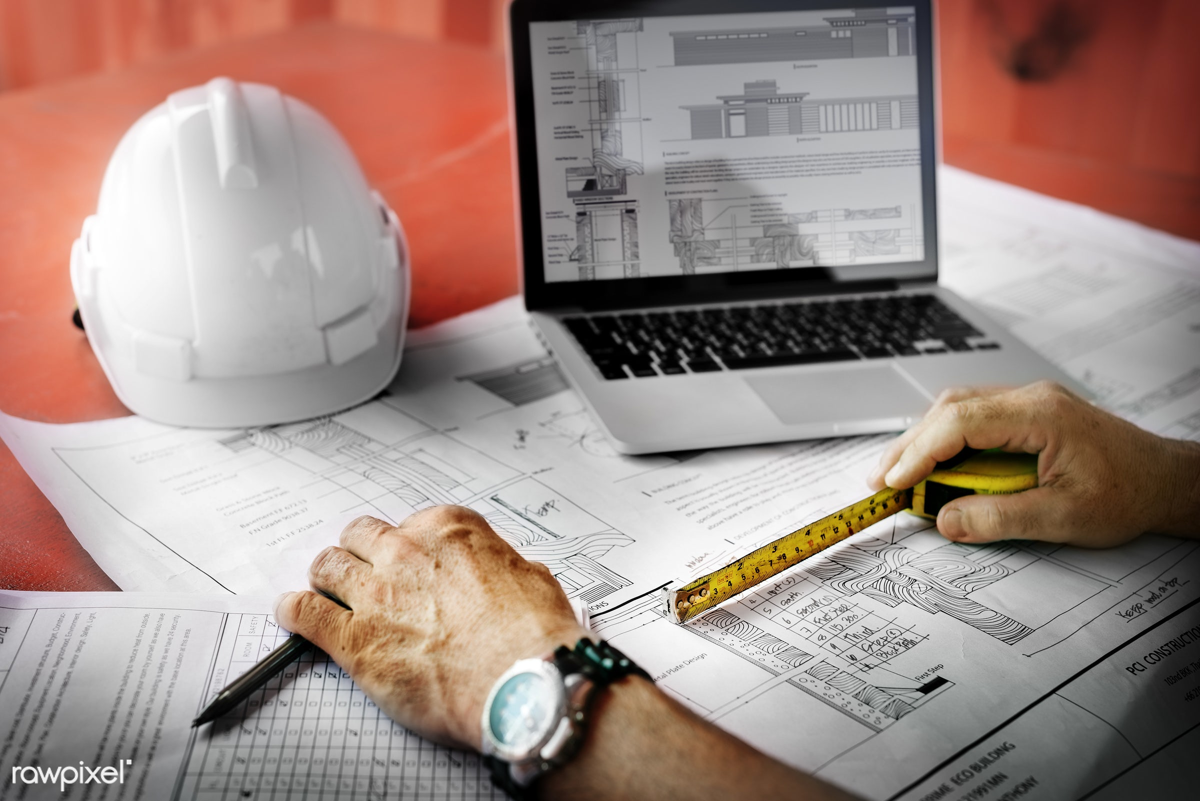 Site engineer on a construction site - construction, engineering, aerial, architecture, blueprint, building, built, career,...