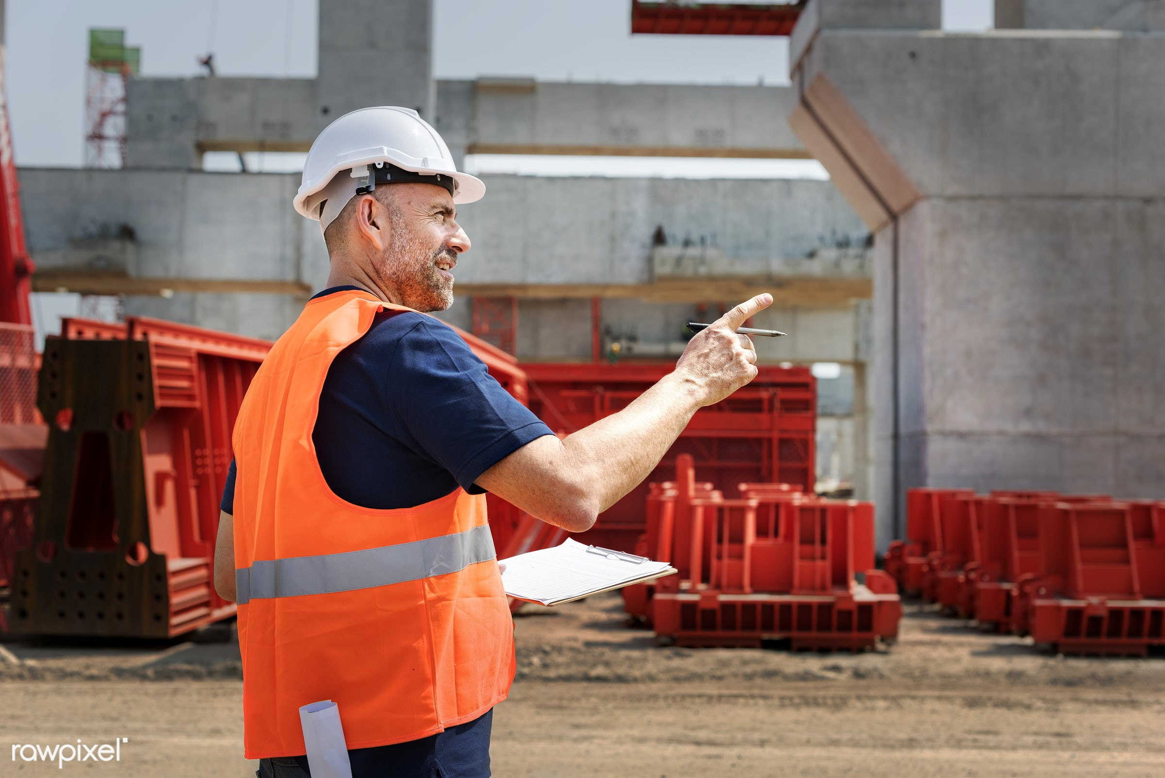 Site engineer on a construction site - construction, architecture, blueprint, board, building, built, career, check,...