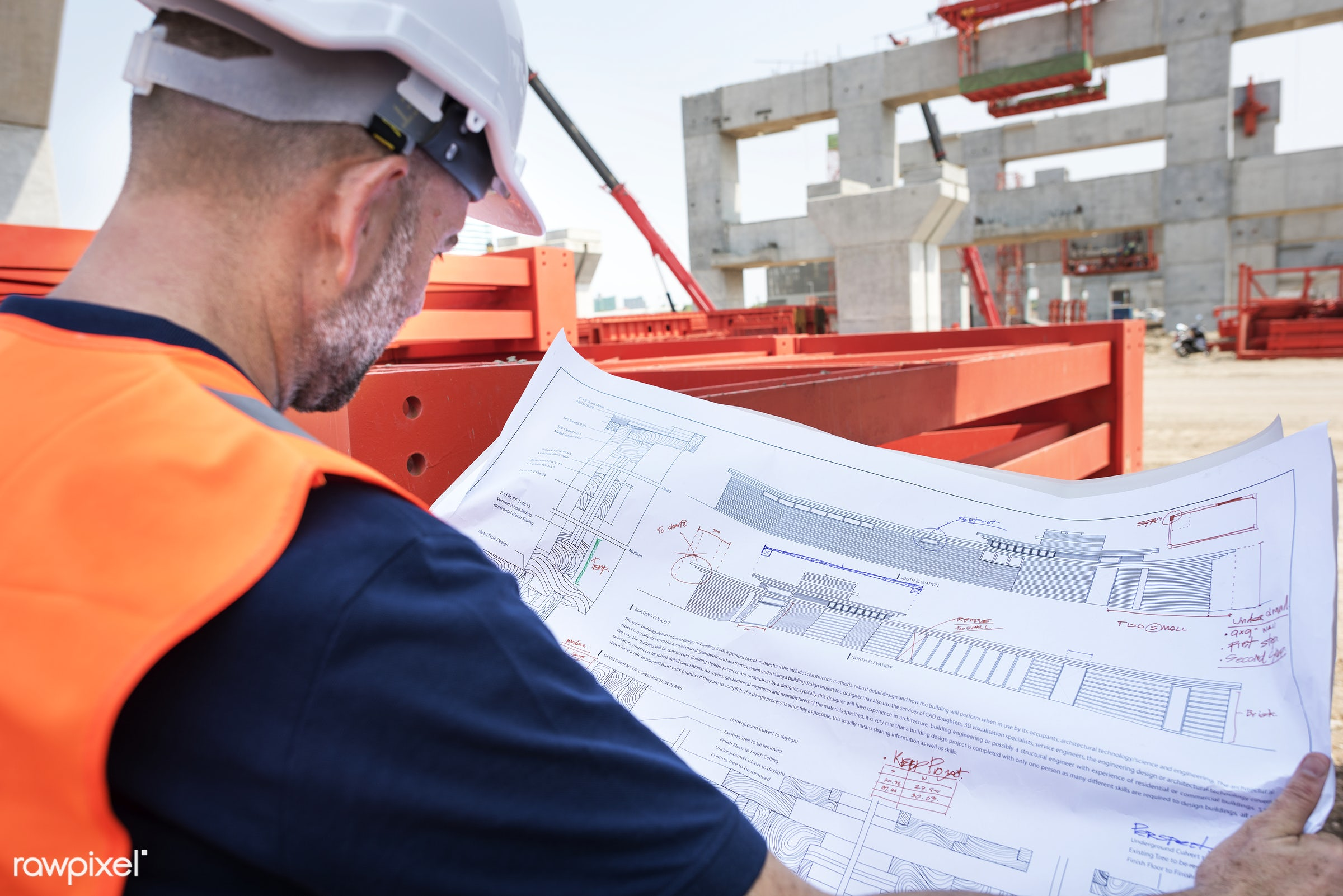 Site engineer on a construction site - architecture, blueprint, building, built, career, check, construction, construction...