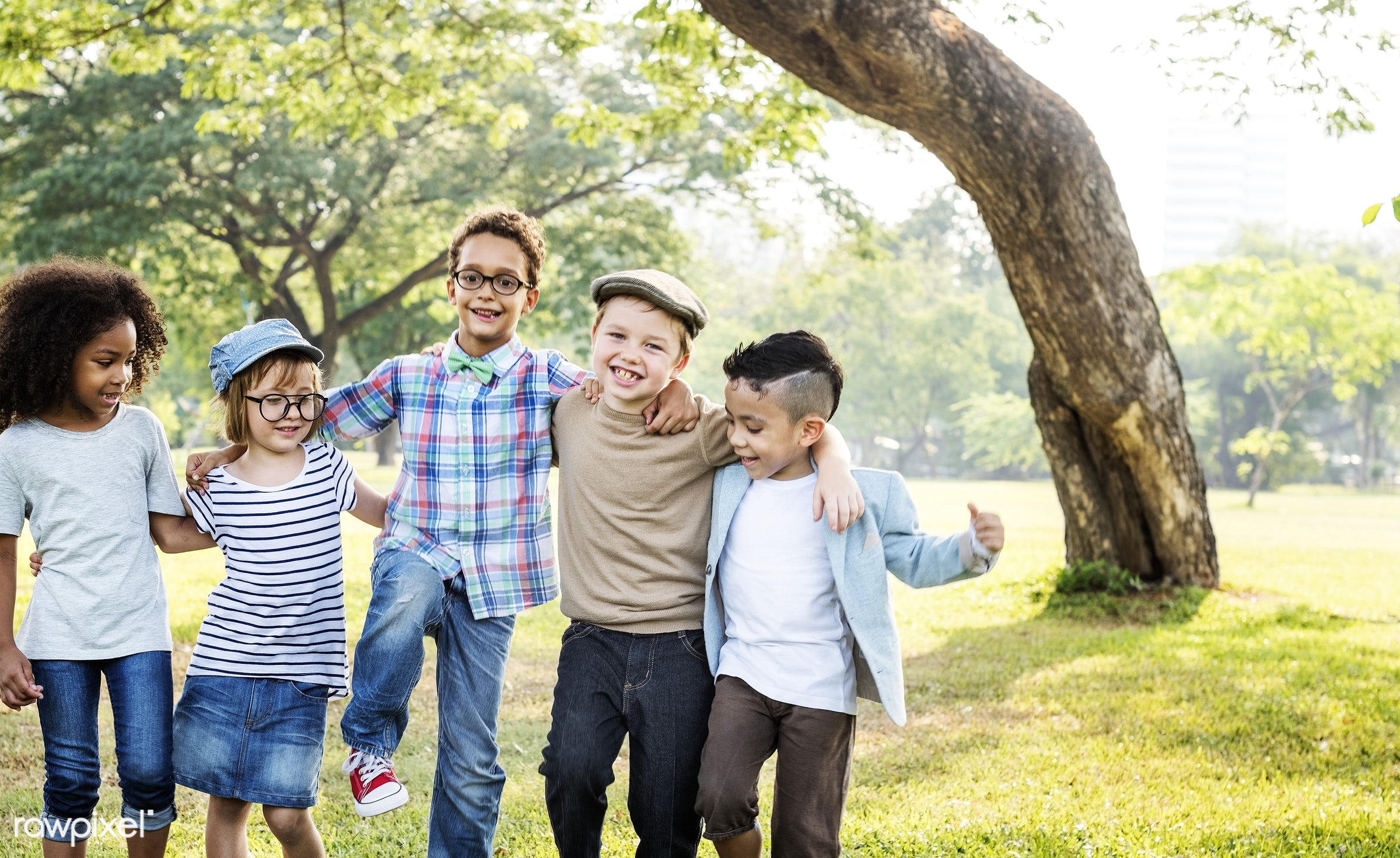 Happy kids in the park - activities, adorable, african descent, asian ethnicity, bonding, boys, cheerful, child, childhood,...