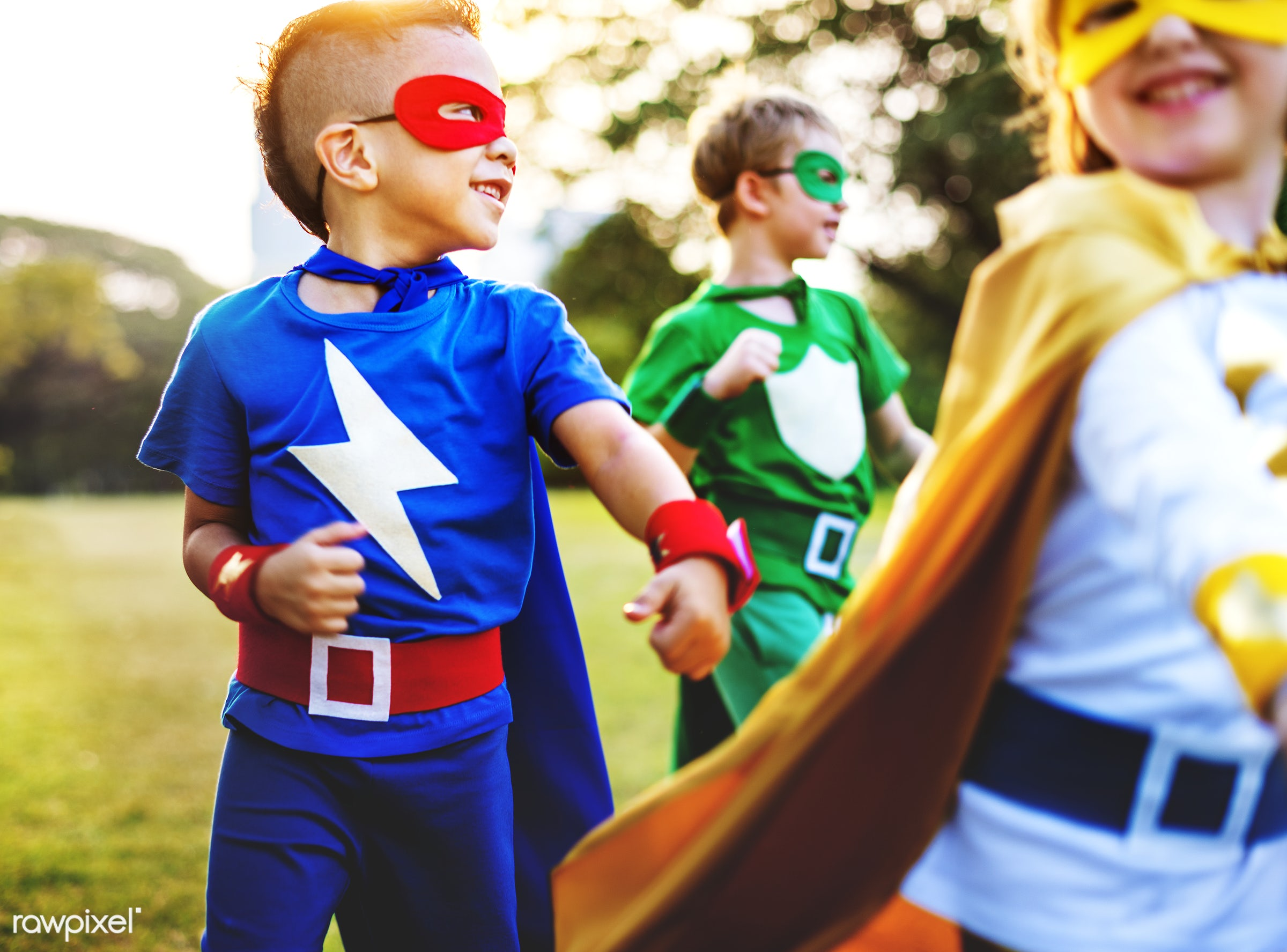 Superhero kids with superpowers - costume, hero, superhero, adorable, african descent, asian ethnicity, aspiration, boys,...