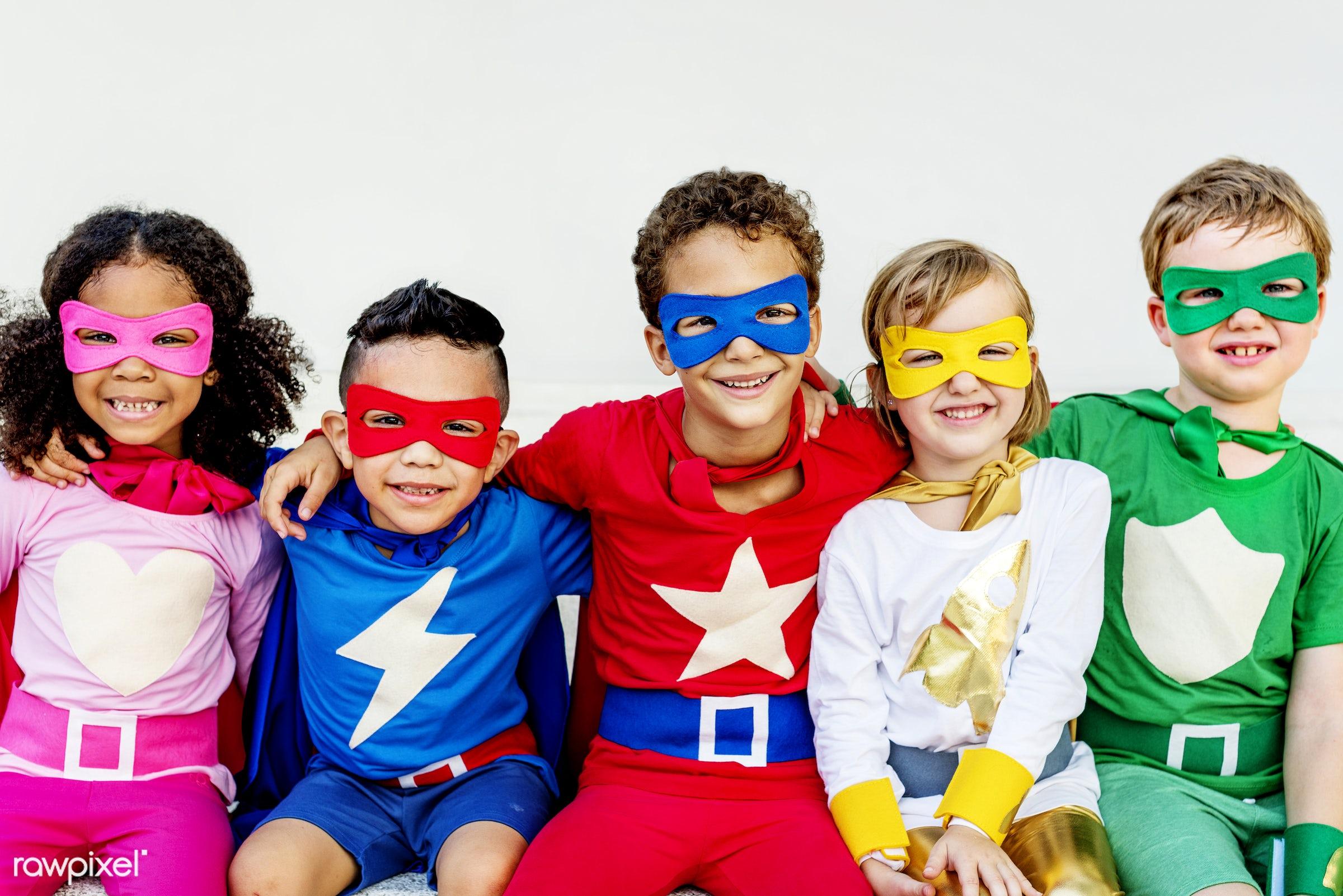 diversity, superhero, children, joy, activity, african descent, asian ethnicity, aspirations, boys, brave, cheerful, child,...