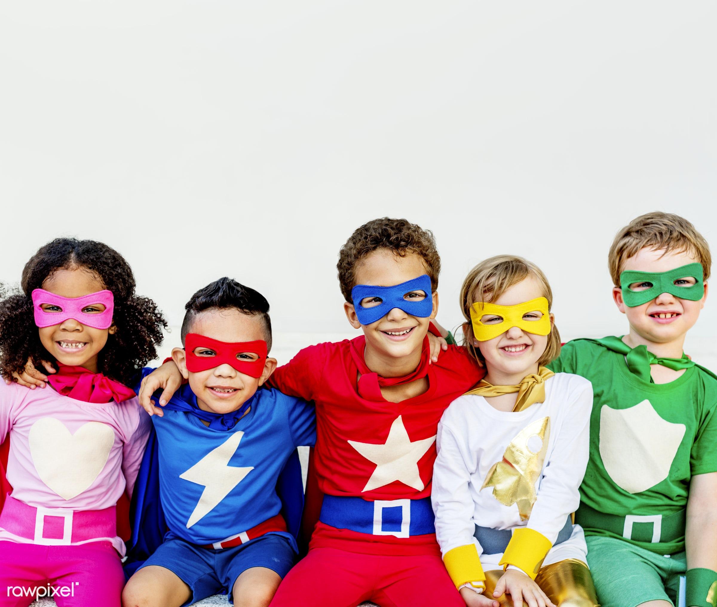 superhero, ambition, child, childhood, children, colorful, costume, diverse, diversity, dreams, friends, friendship, fun,...