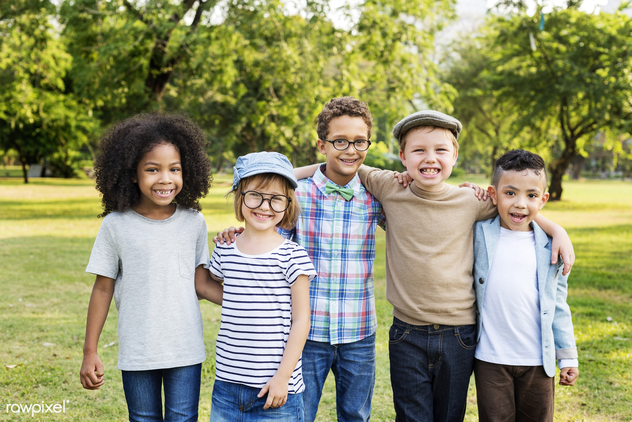 Happy kids in the park - action, active, activity, adorable, african descent, asian ethnicity, boys, casual, cheerful, child...