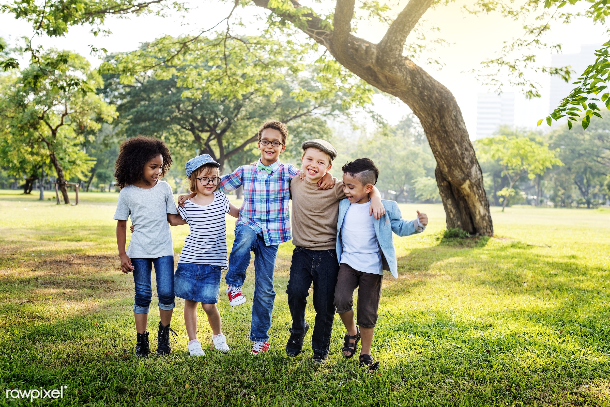 Happy kids in the park - child, play, casual, fashion, action, active, activity, adorable, african descent, asian ethnicity...