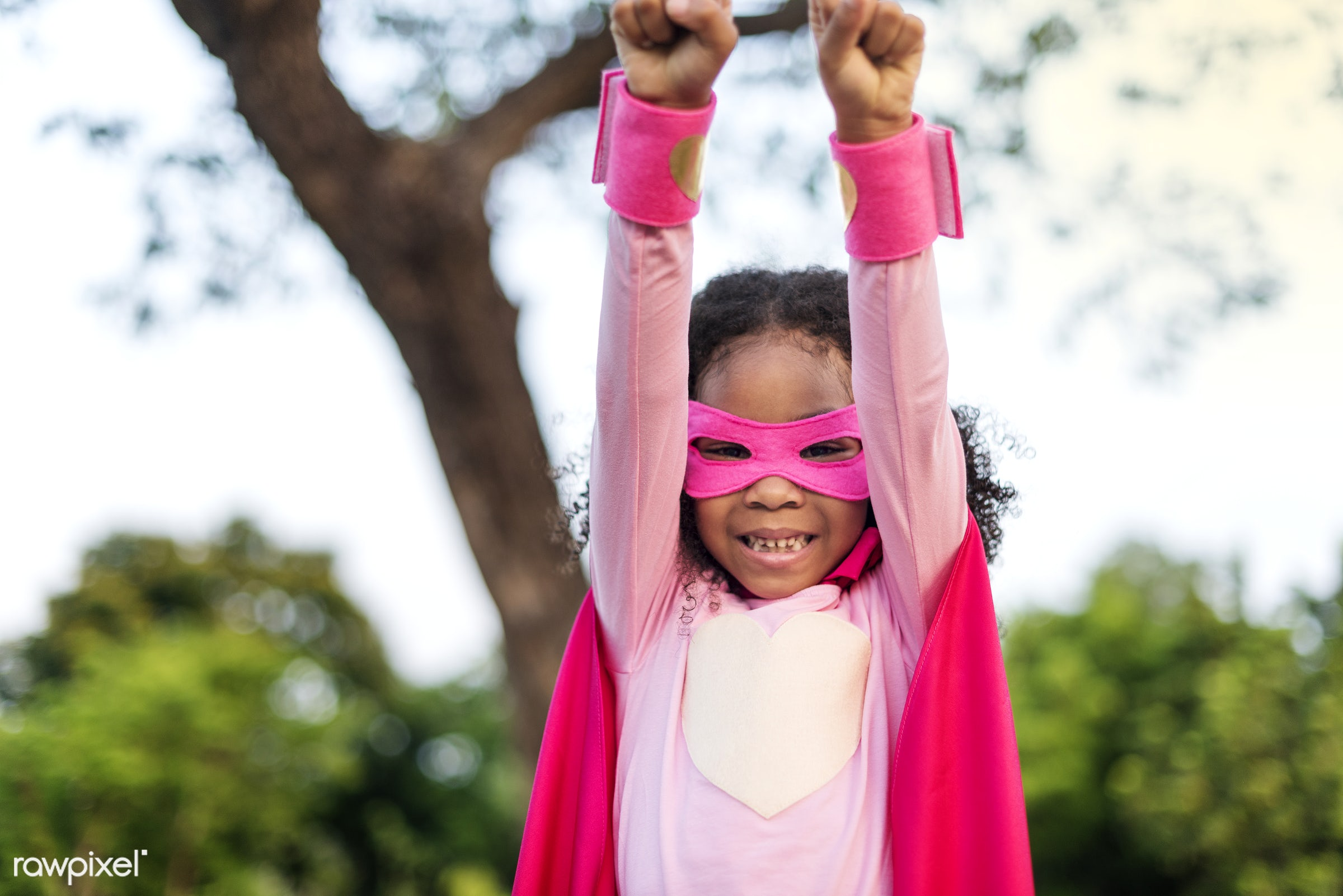 Pink superhero girl - superhero, activity, african descent, aspirations, brave, cheerful, child, childhood, colorful,...