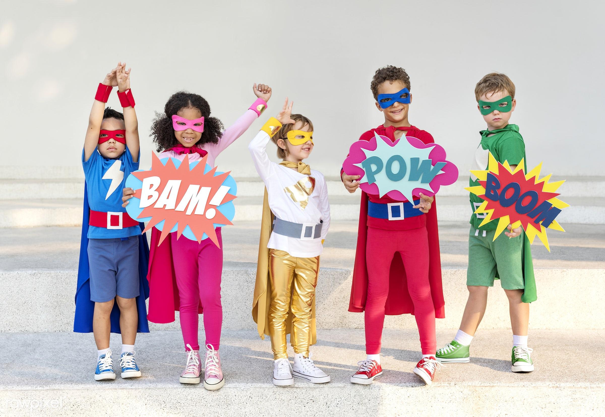 children, superhero, activity, african descent, asian ethnicity, aspirations, boys, brave, cheerful, child, childhood,...