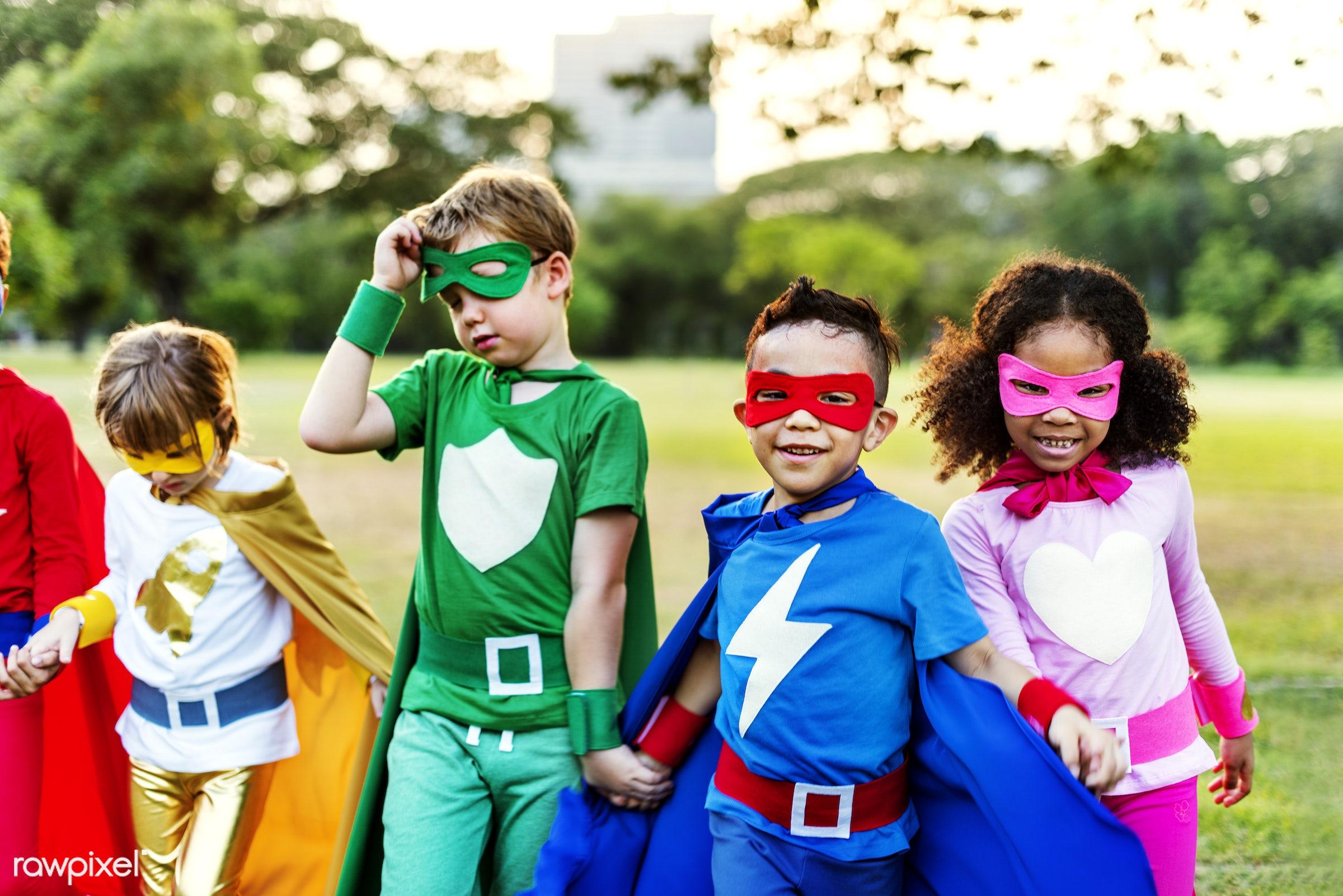 Superhero kids with superpowers - children, diverse, superhero, activity, african descent, asian ethnicity, aspirations,...