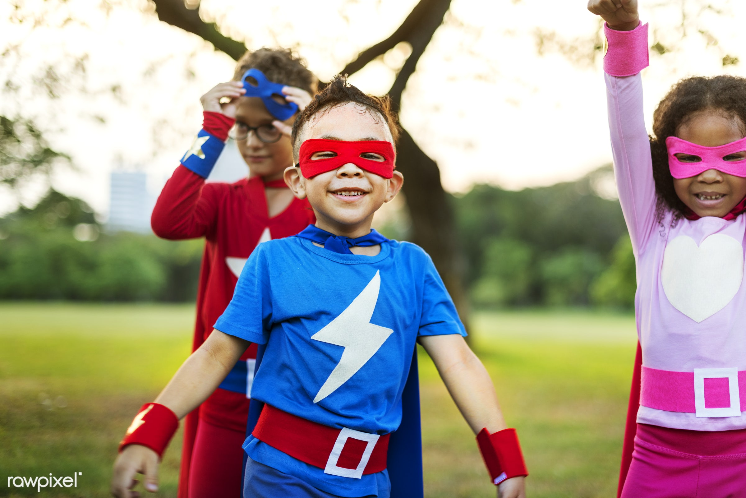 Superhero kids with superpowers - superhero, activity, african descent, asian ethnicity, aspirations, boys, brave, cheerful...