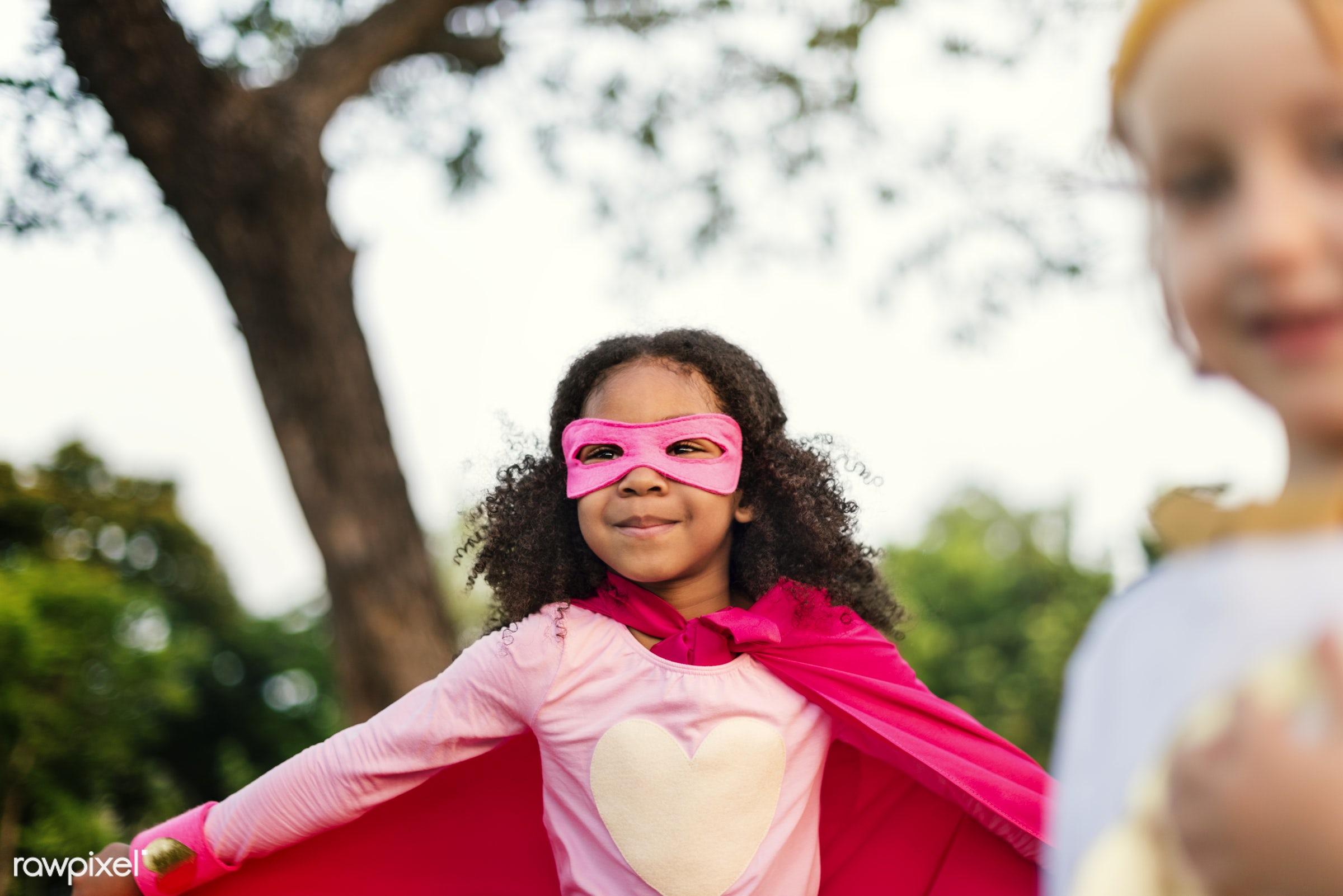 Superhero kids with superpowers - superhero, activity, african descent, aspirations, brave, cheerful, child, childhood,...