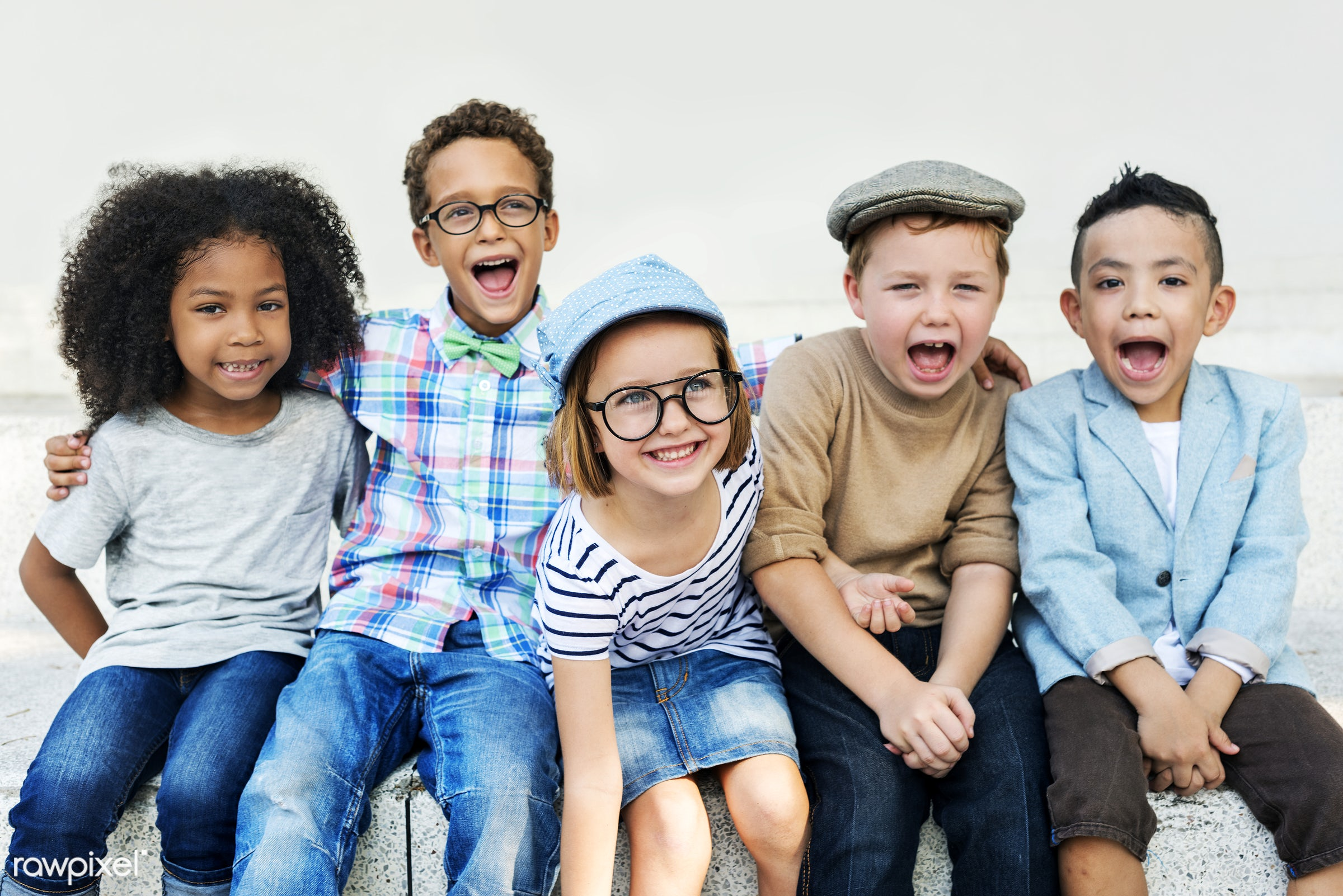 Happy kids in the park - fashion, joy, child, preschool, action, active, activity, adorable, african descent, asian...