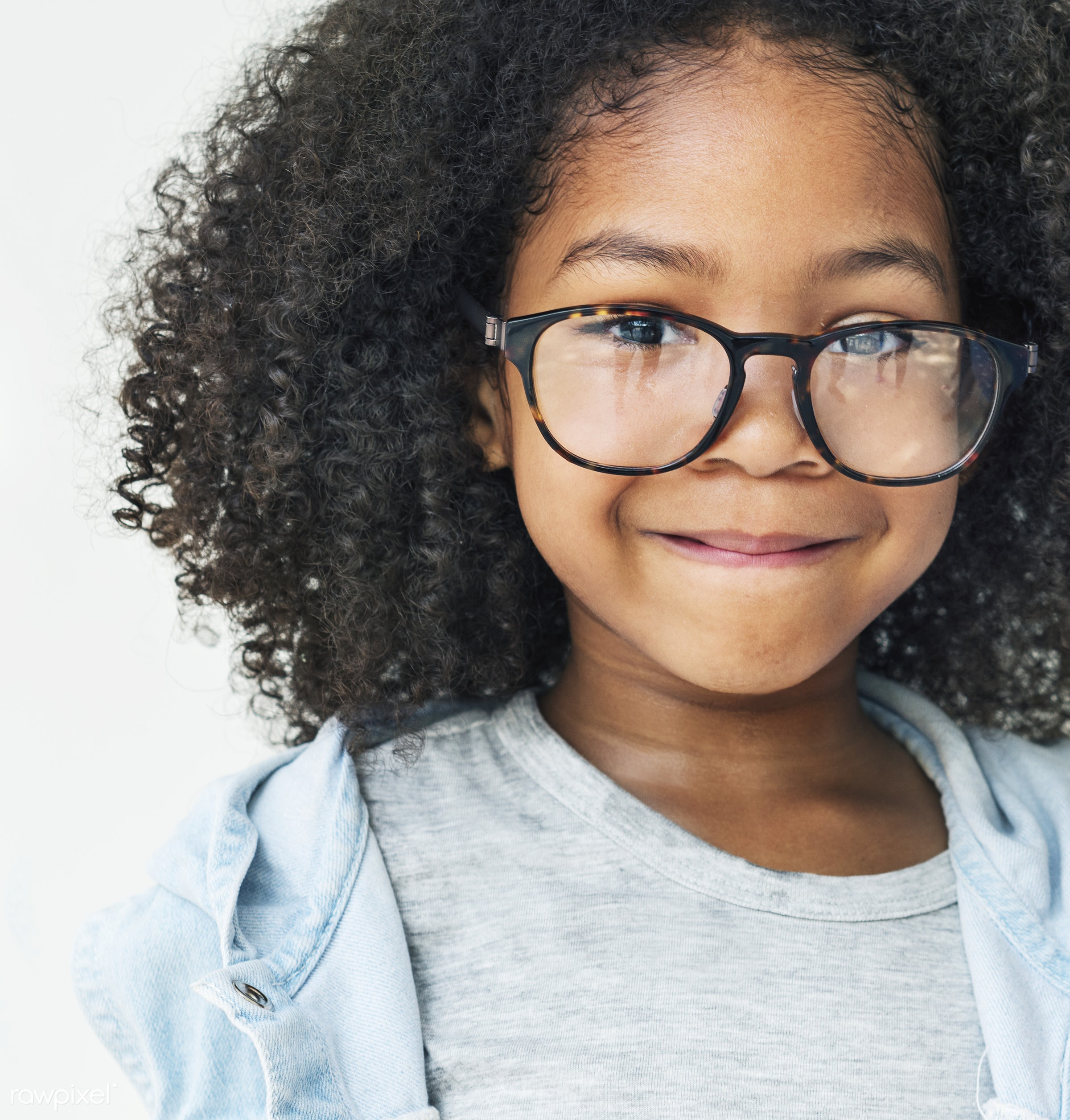 Cute girl with glasses - activities, adorable, african descent, casual, cheerful, child, childhood, childhood friends,...