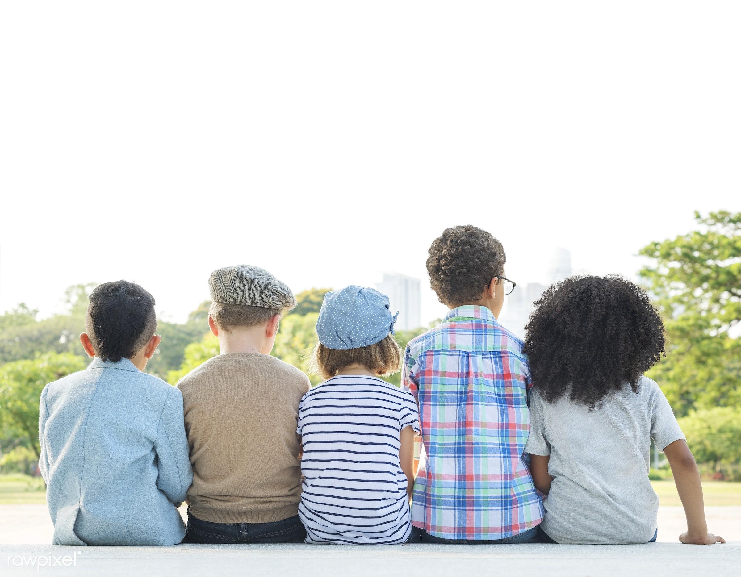 bonding, boys, childhood, children, contemplation, elementary age, fashion, friends, friendship, girls, group of kids,...