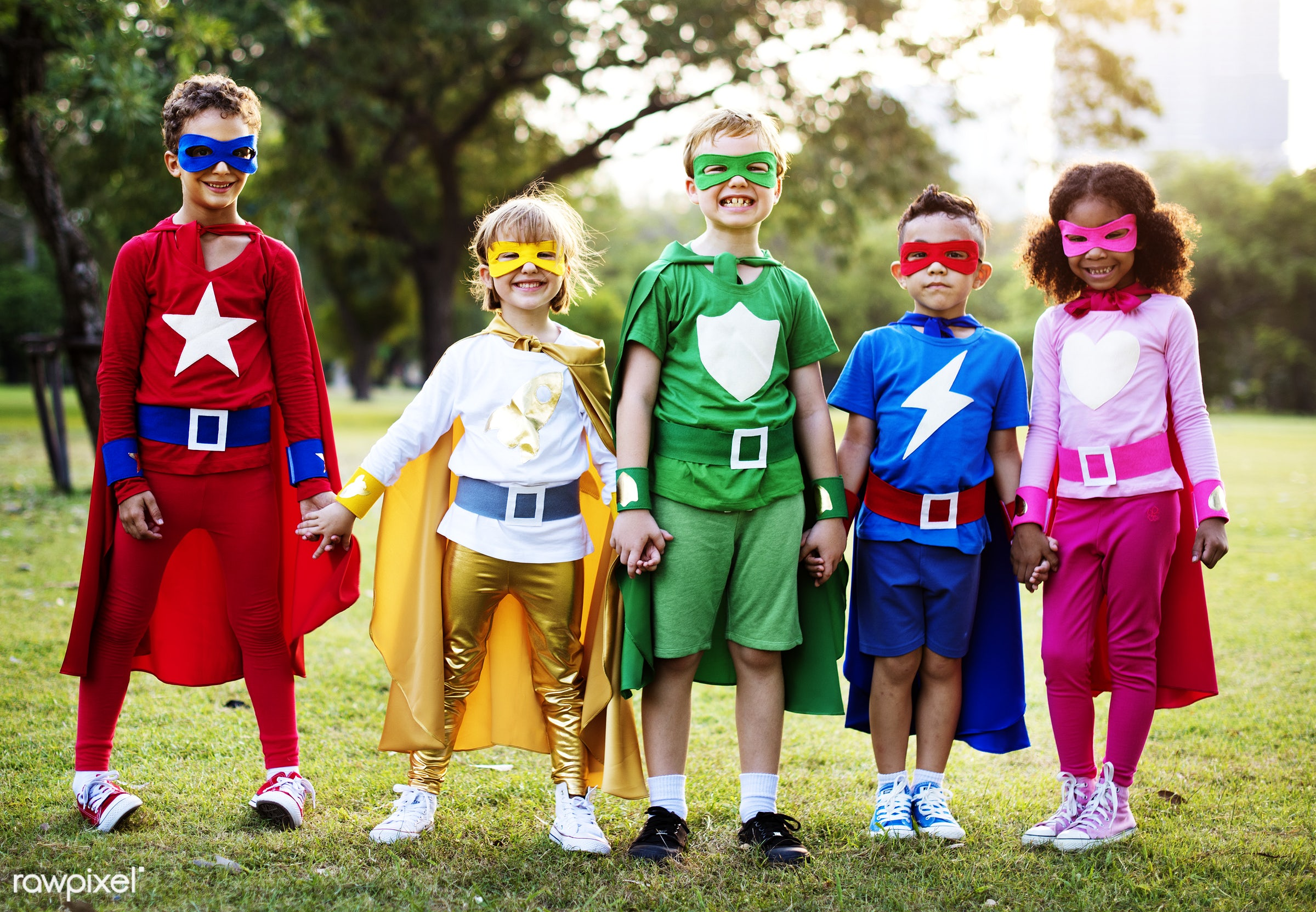 Superhero kids with superpowers - active, activities, adorable, african american, boys, caucasian, cheerful, child,...
