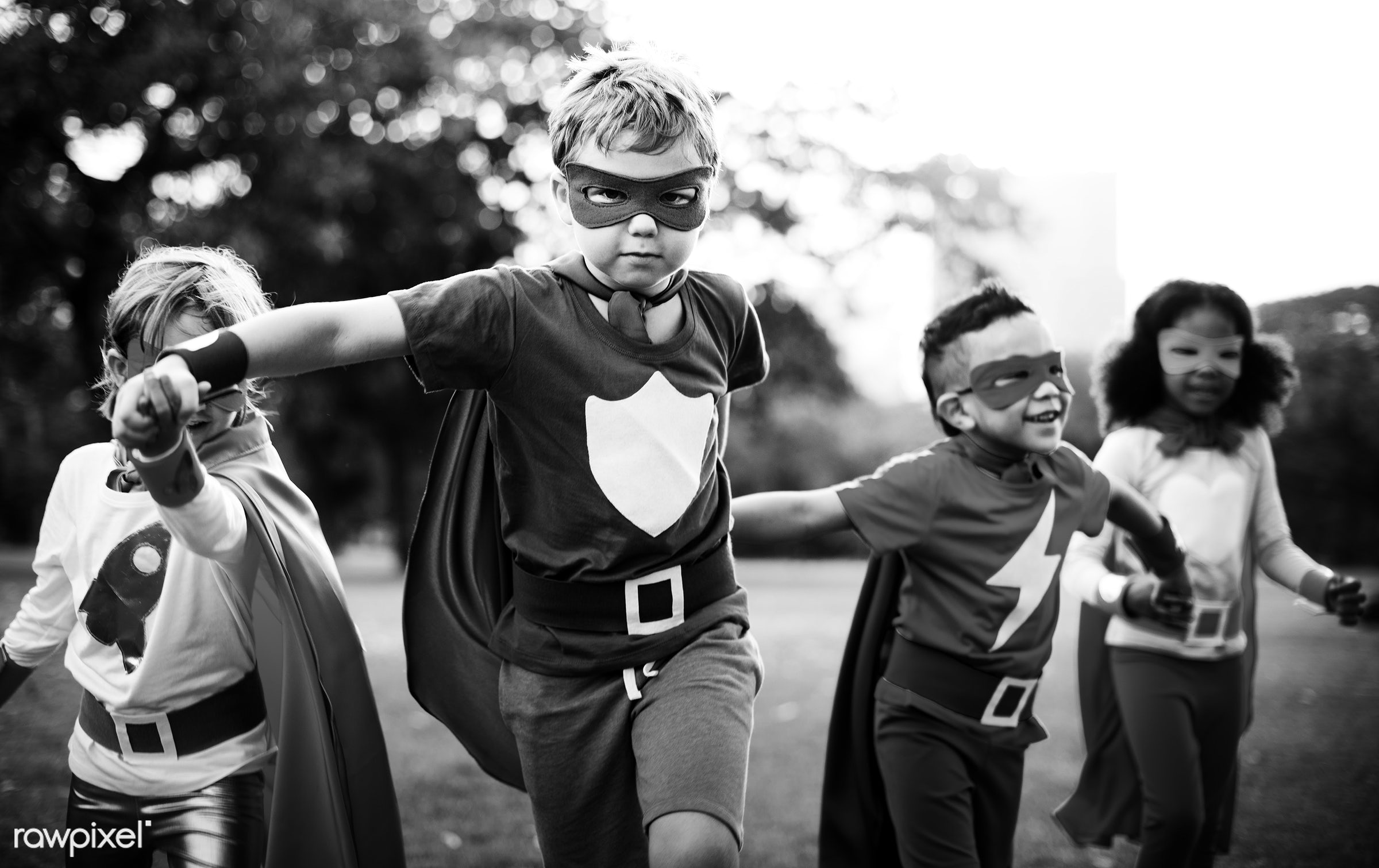 Kids Wear Superhero Costume Outdoors - superhero, active, activities, adorable, african american, asian, black and white,...