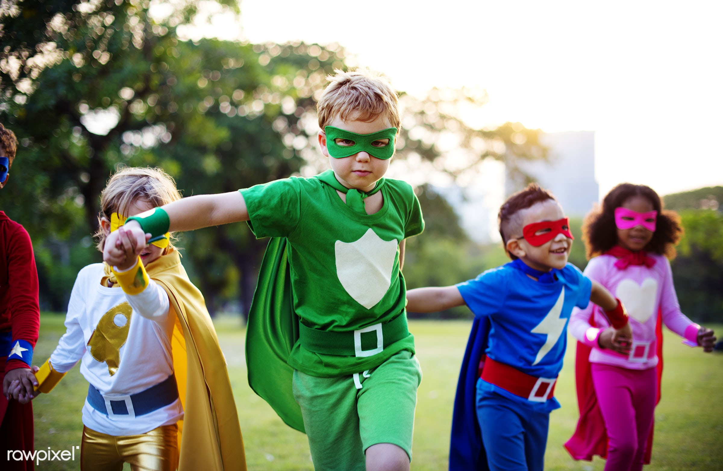 superhero, active, activities, adorable, african american, boys, caucasian, cheerful, child, childhood, children, costume,...
