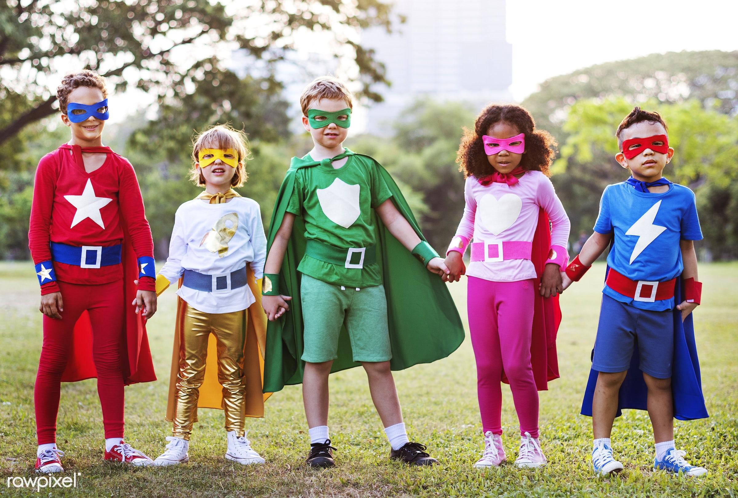 superhero, african descent, asian ethnicity, aspirations, boys, brave, cheerful, child, childhood, children, costume, dream...