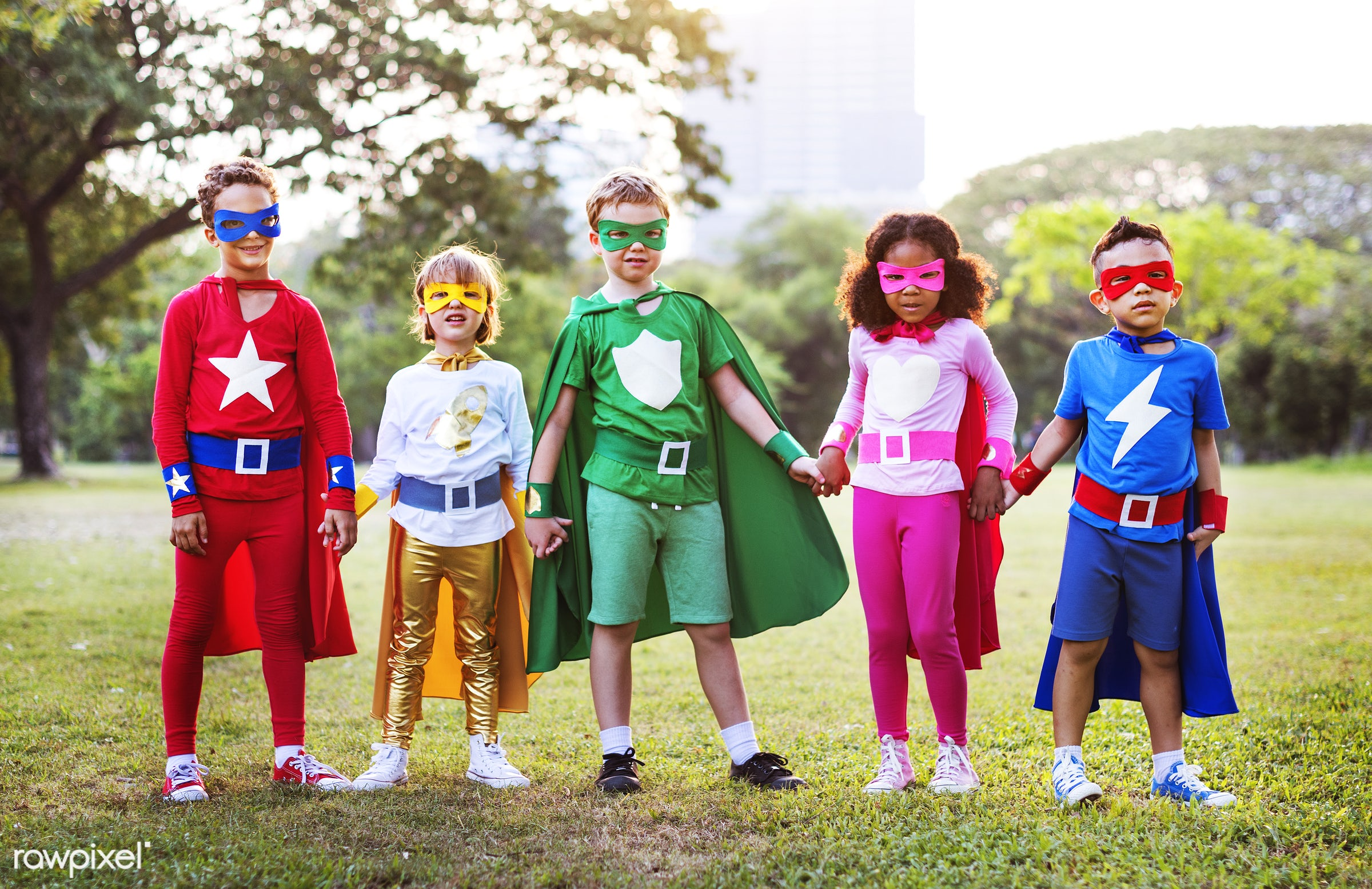 Superhero kids with superpowers - hero, superhero, dream, kids, african descent, asian ethnicity, aspirations, boys, brave,...