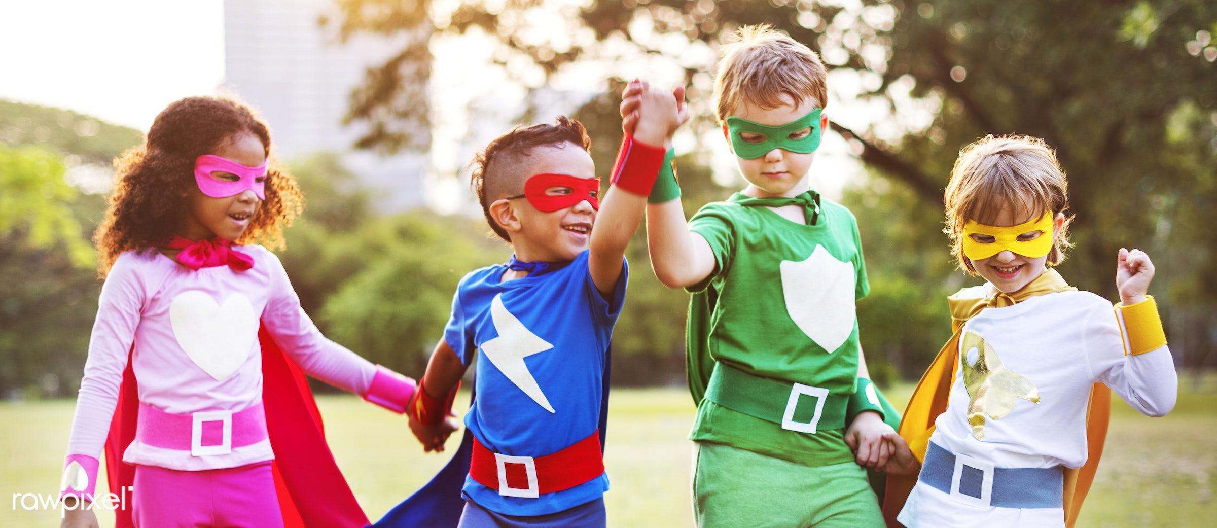 superhero, activity, african descent, asian ethnicity, aspirations, boys, brave, cheerful, child, childhood, children,...
