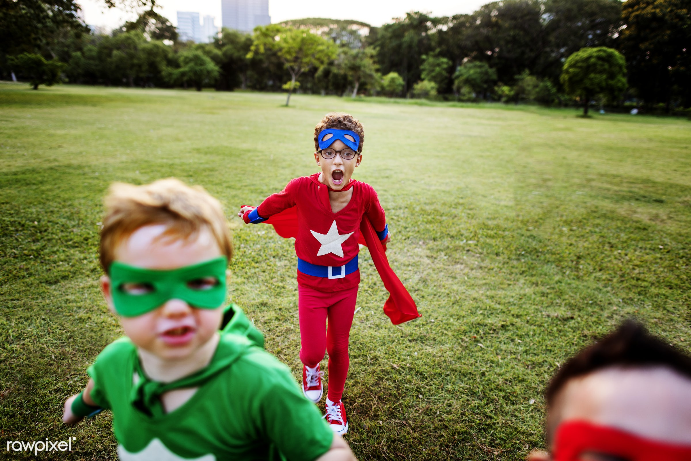 Superhero kids with superpowers - adorable, african descent, asian ethnicity, aspiration, boys, cape, cheerful, child,...