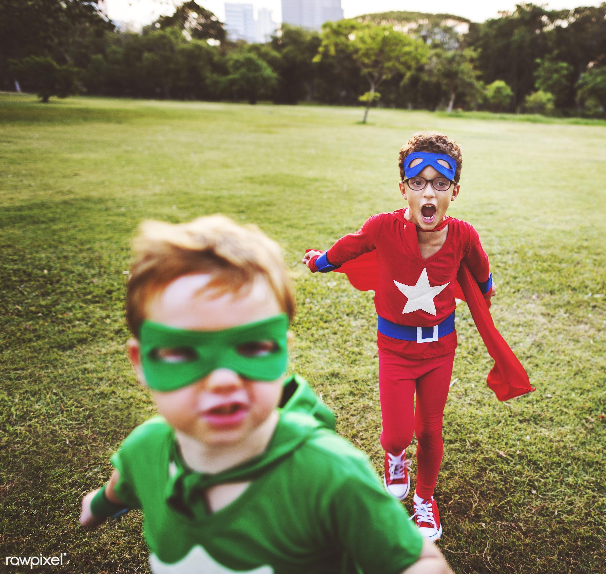 superhero, adorable, african descent, asian ethnicity, aspiration, boys, cape, cheerful, child, childhood, children,...