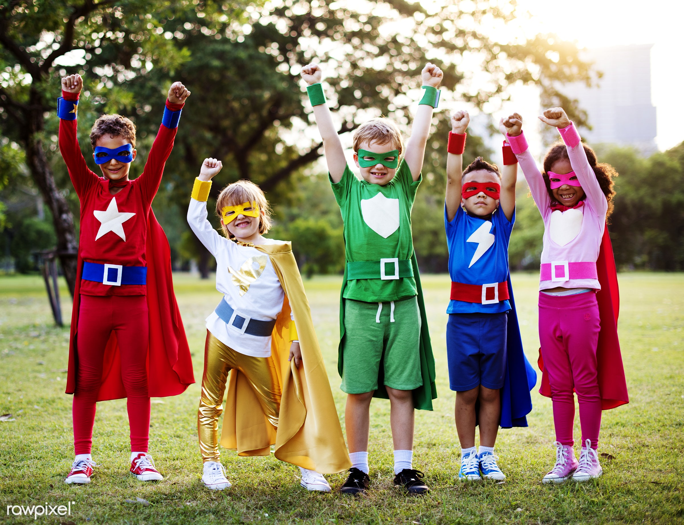 Superhero kids with superpowers - superhero, children, active, activities, adorable, african american, boys, cheerful, child...