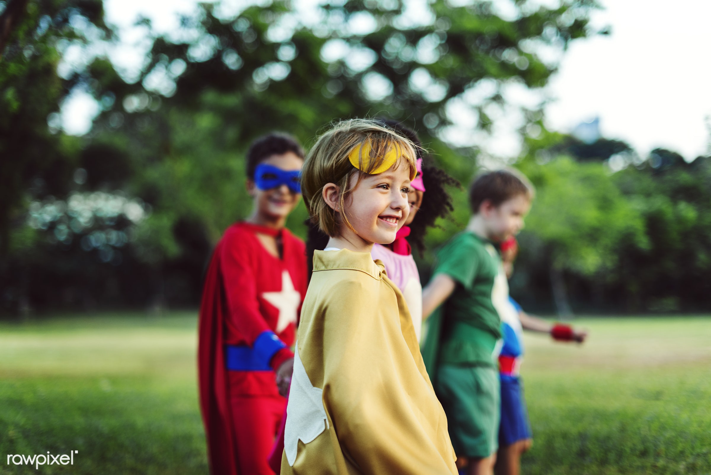 Superhero kids with superpowers - superhero, adorable, african descent, asian ethnicity, aspiration, boys, cape, cheerful,...