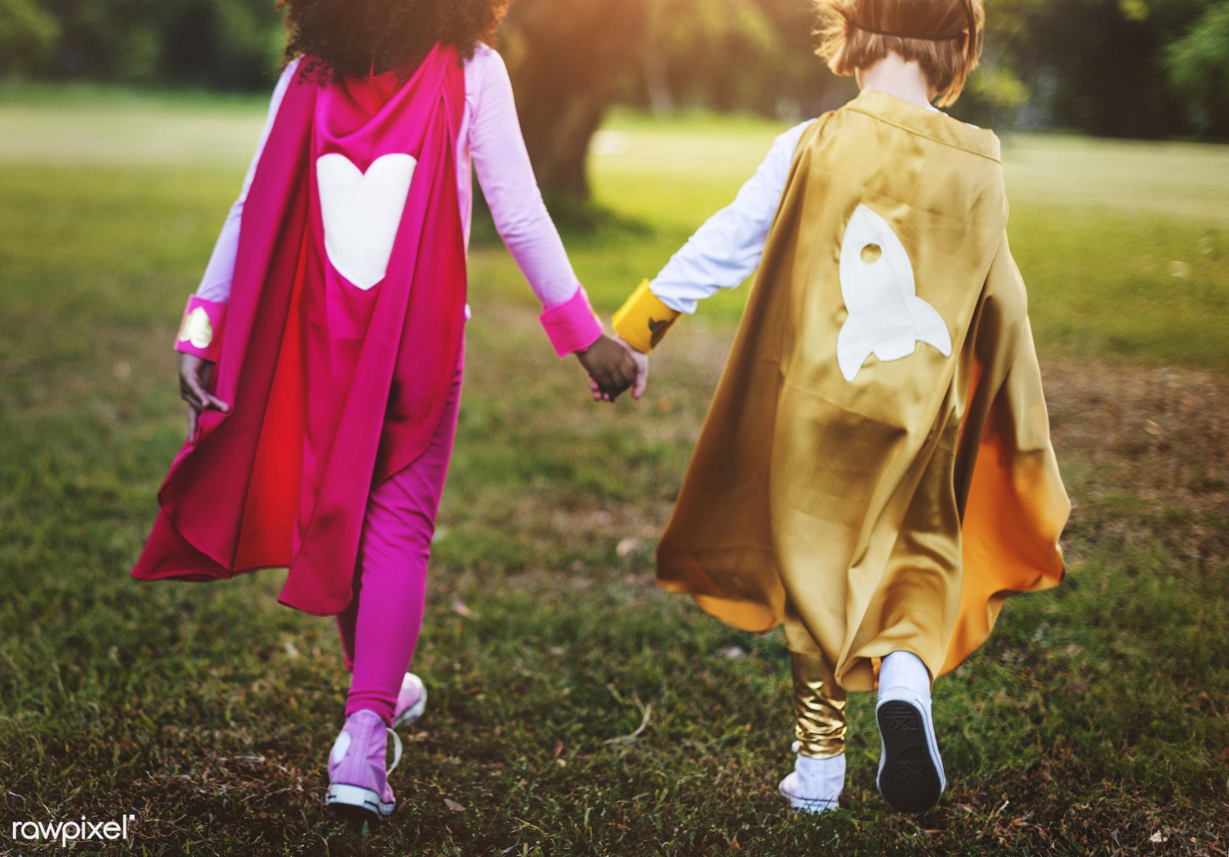 Superhero kids with superpowers - superhero, adorable, aspiration, boys, cape, cheerful, child, childhood, children,...