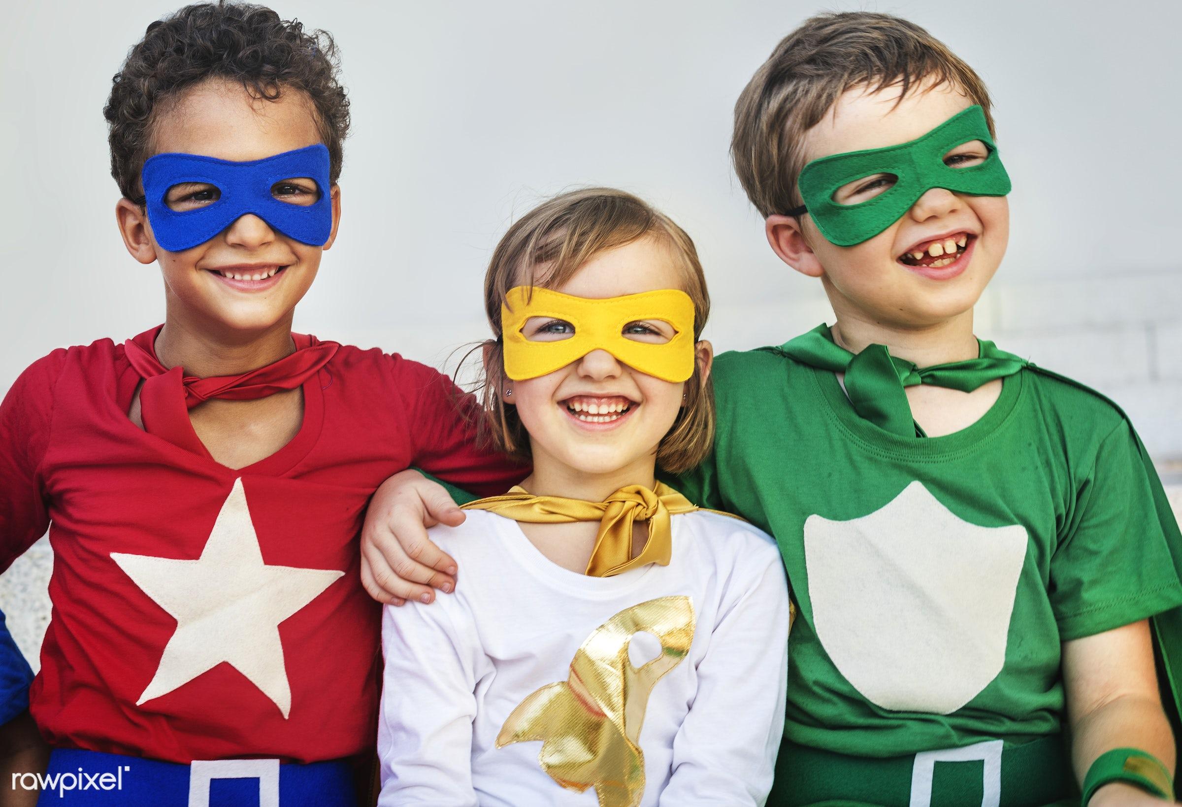 superhero, children, activity, african descent, asian ethnicity, aspirations, boys, brave, cheerful, child, childhood,...