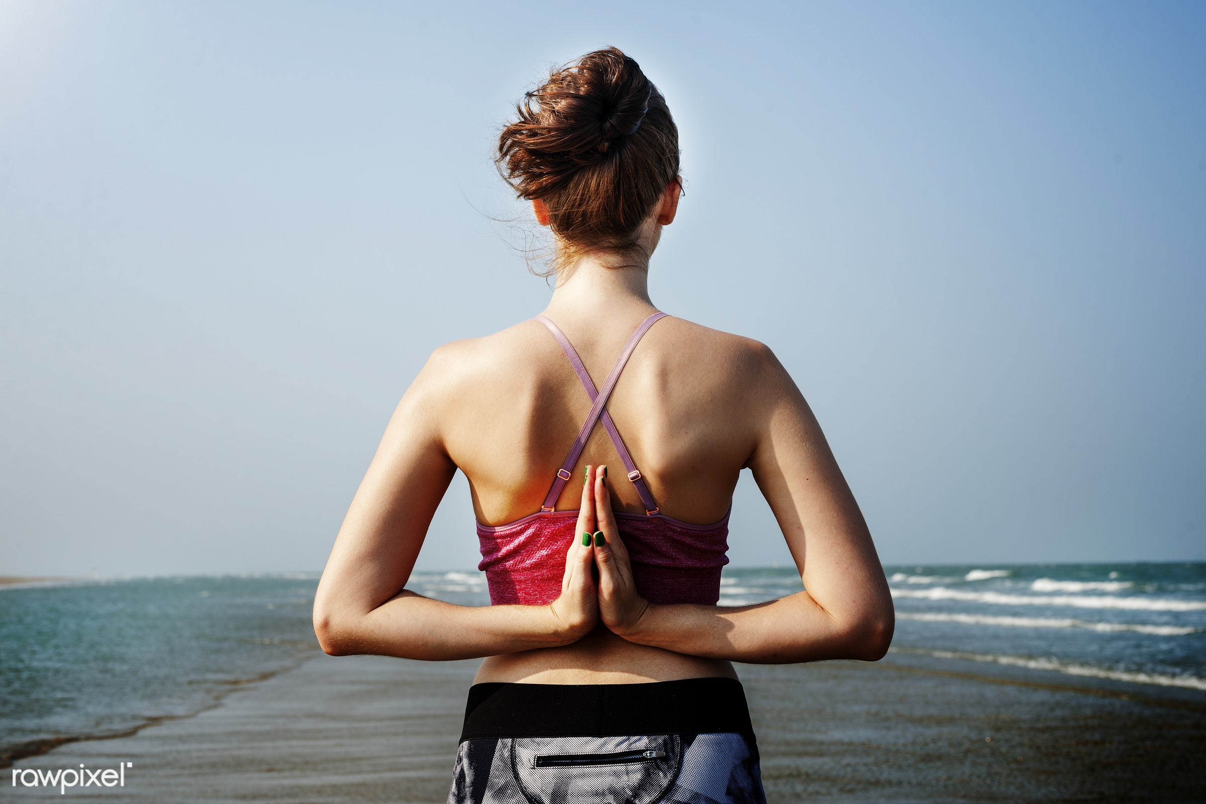 exercise, beach, training, pose, balance, namaste pose, nature, woman, wellbeing, alone, rear view, sand, reverse, strength...
