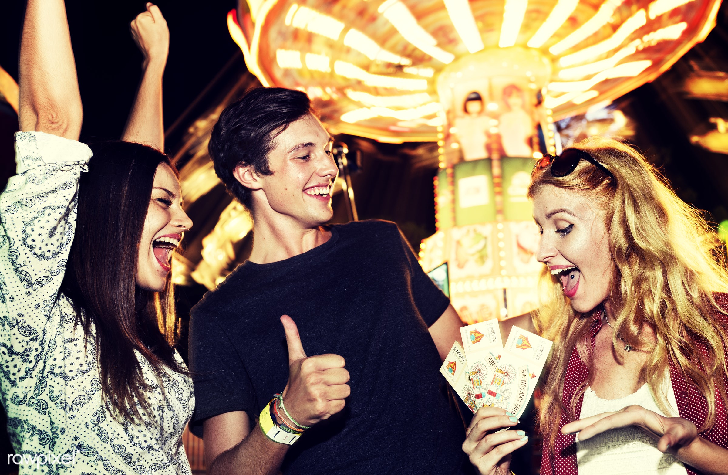 amusement, arms raised, boy, cheerful, enjoy, excited, excitement, fashion, friends, friendship, fun, girls, group, guy,...