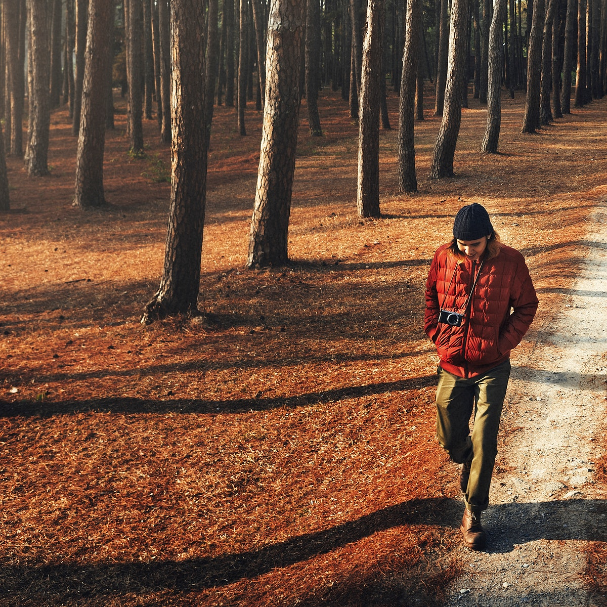 Asian man walking trekking in the wood
