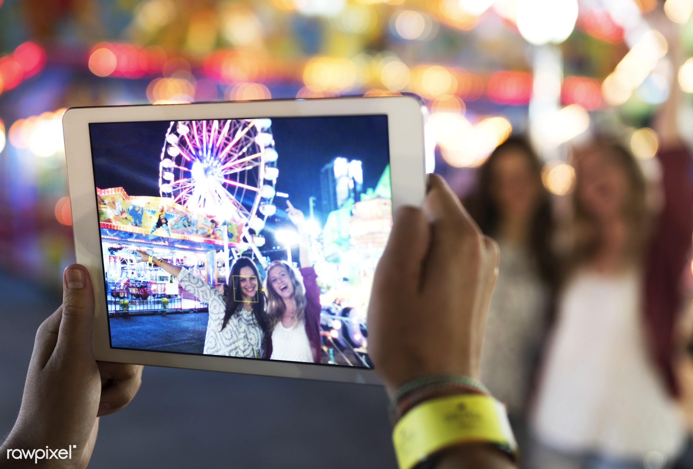 amusement park, camera, device, digital, enjoyment, expression, feeling, friends, friendship, fun, fun park, group,...