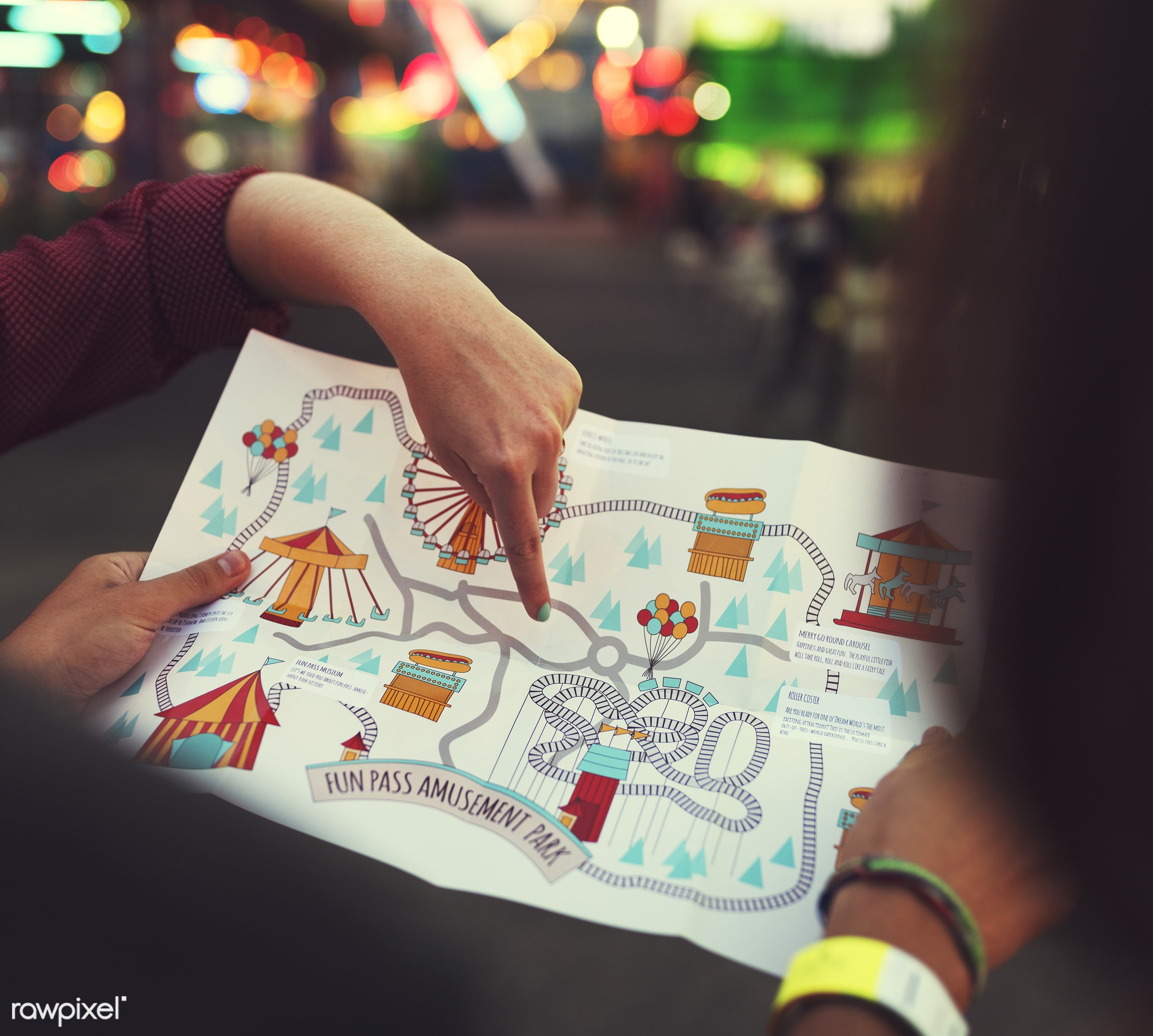 A group of friends is enjoying the amusement park - location, amusement park, direction, enjoyment, expression, feeling,...