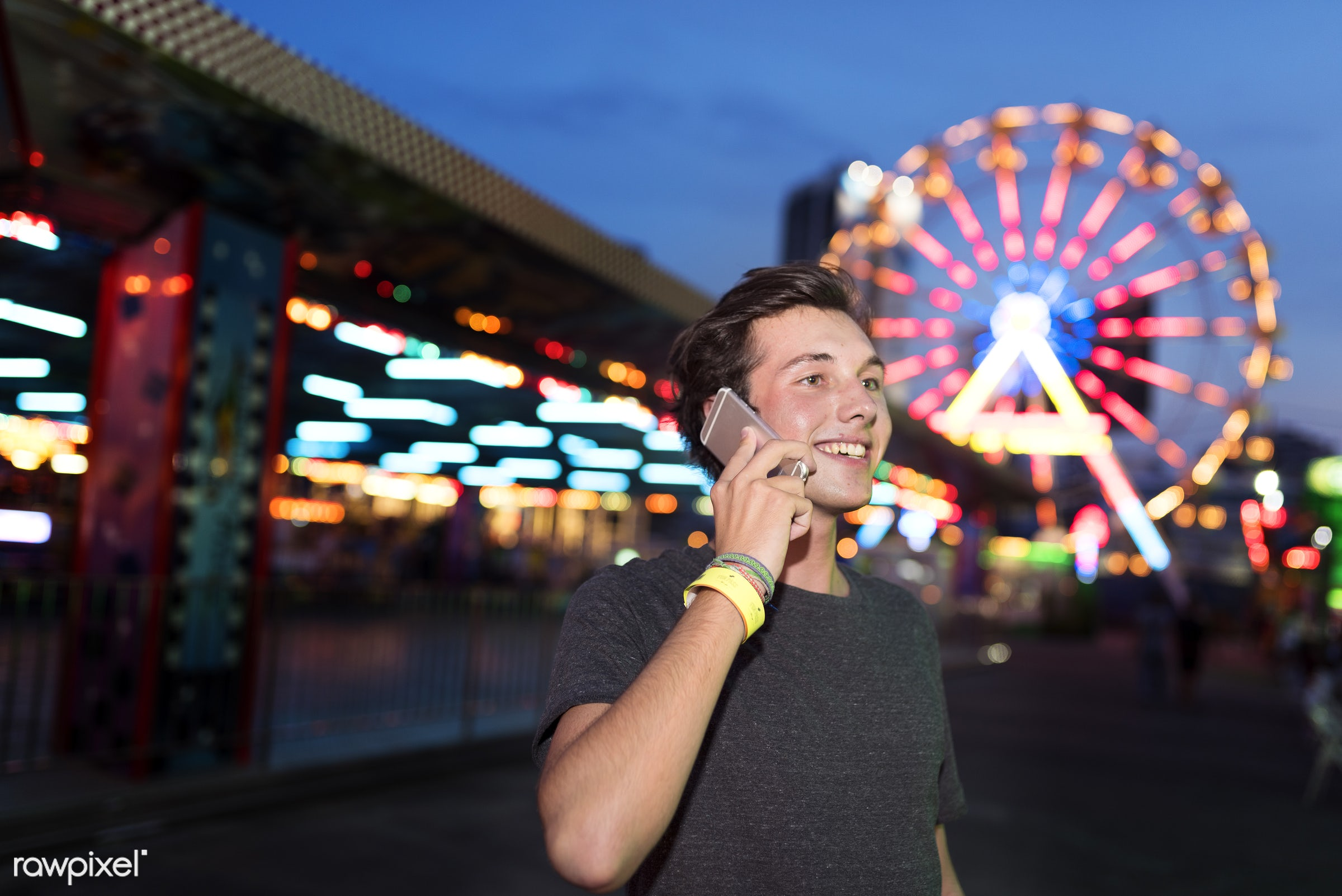 alone, amusement park, calling, caucasian, cellphone, communication, conversation, device, digital, fun, fun park, man,...