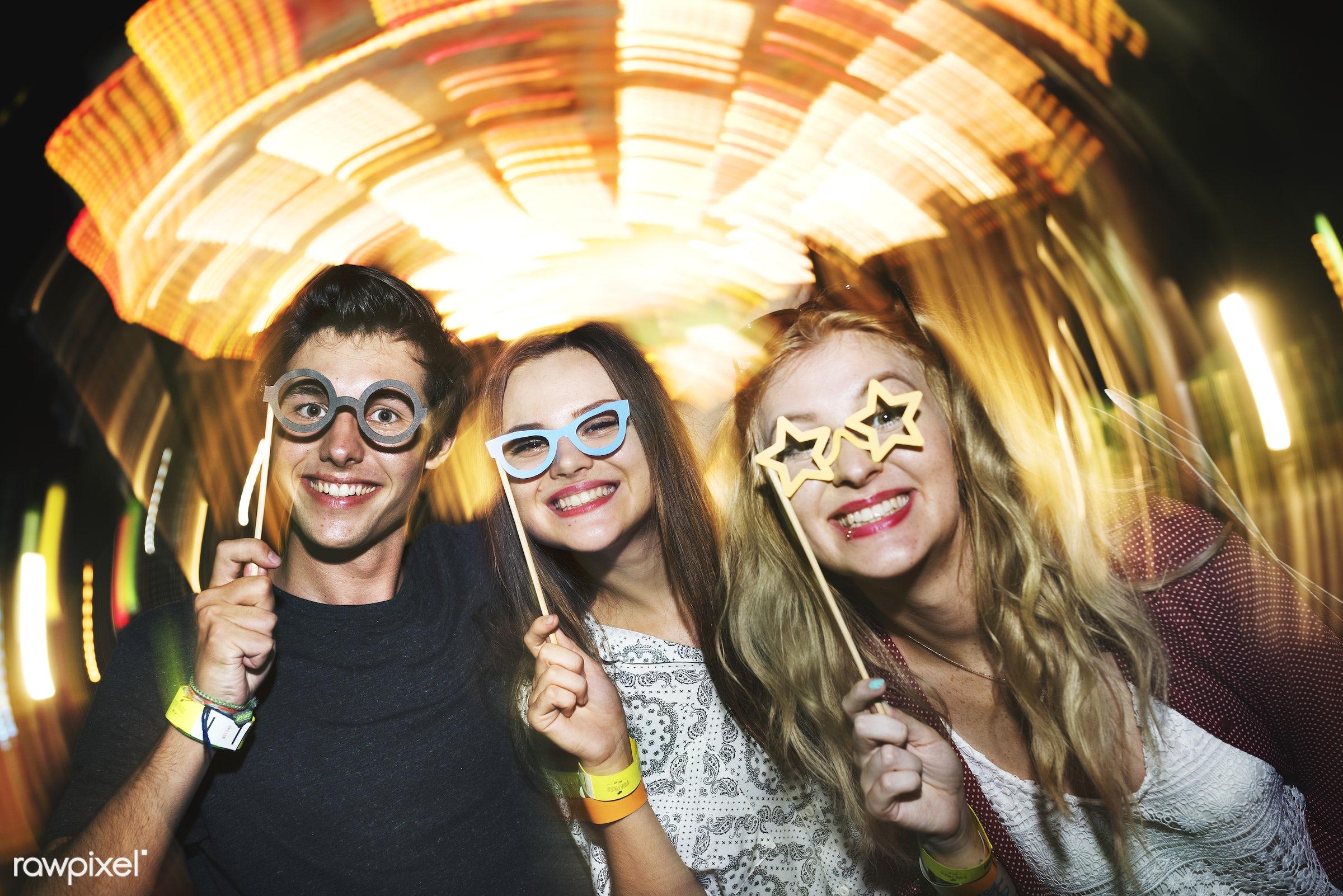 costume, amusement park, caucasian, enjoyment, expression, eyeglasses, feeling, friends, friendship, fun, fun park, group,...