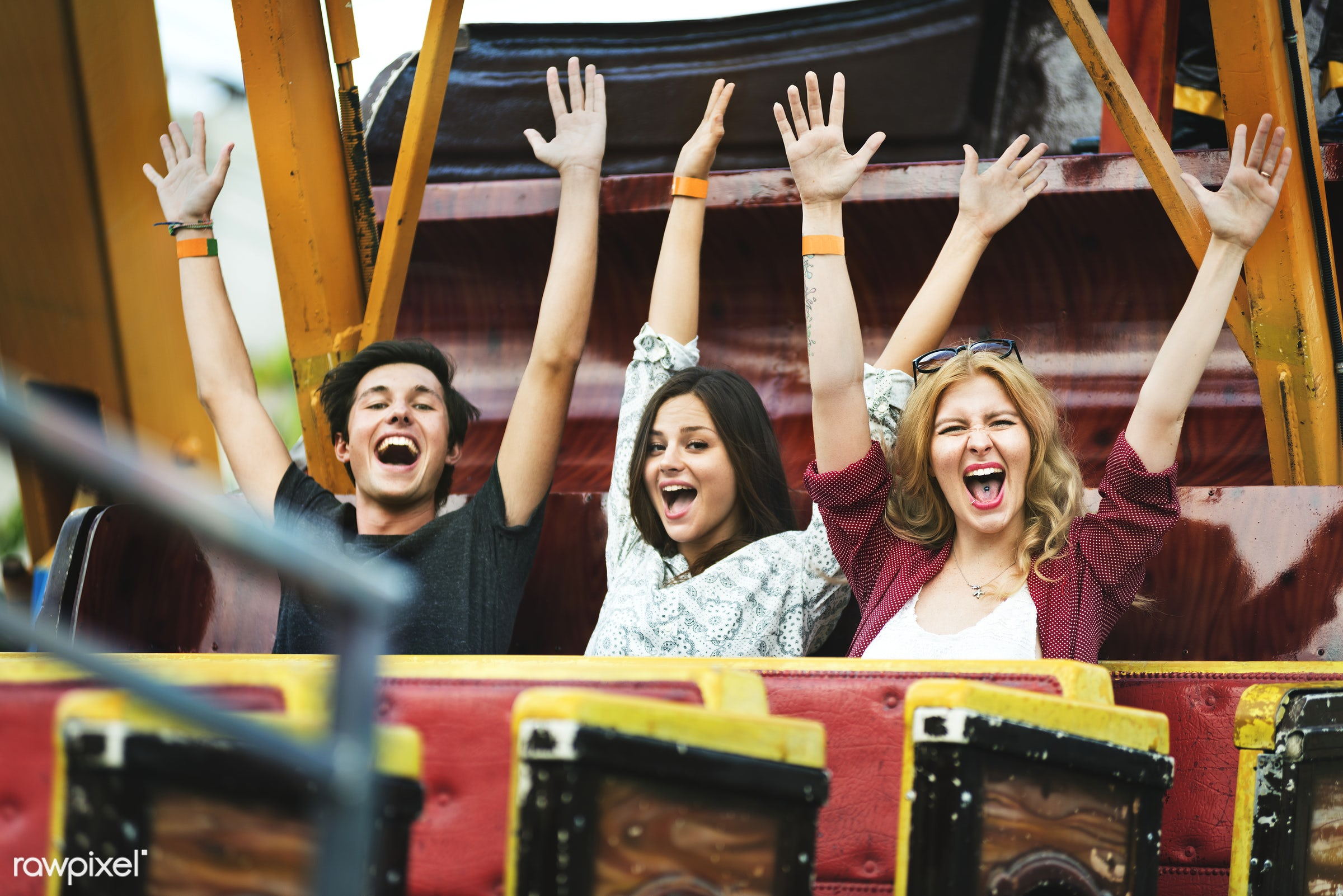 A group of friends is enjoying the amusement park - fun, youth, man, amusement park, arms raised, enjoyment, expression,...