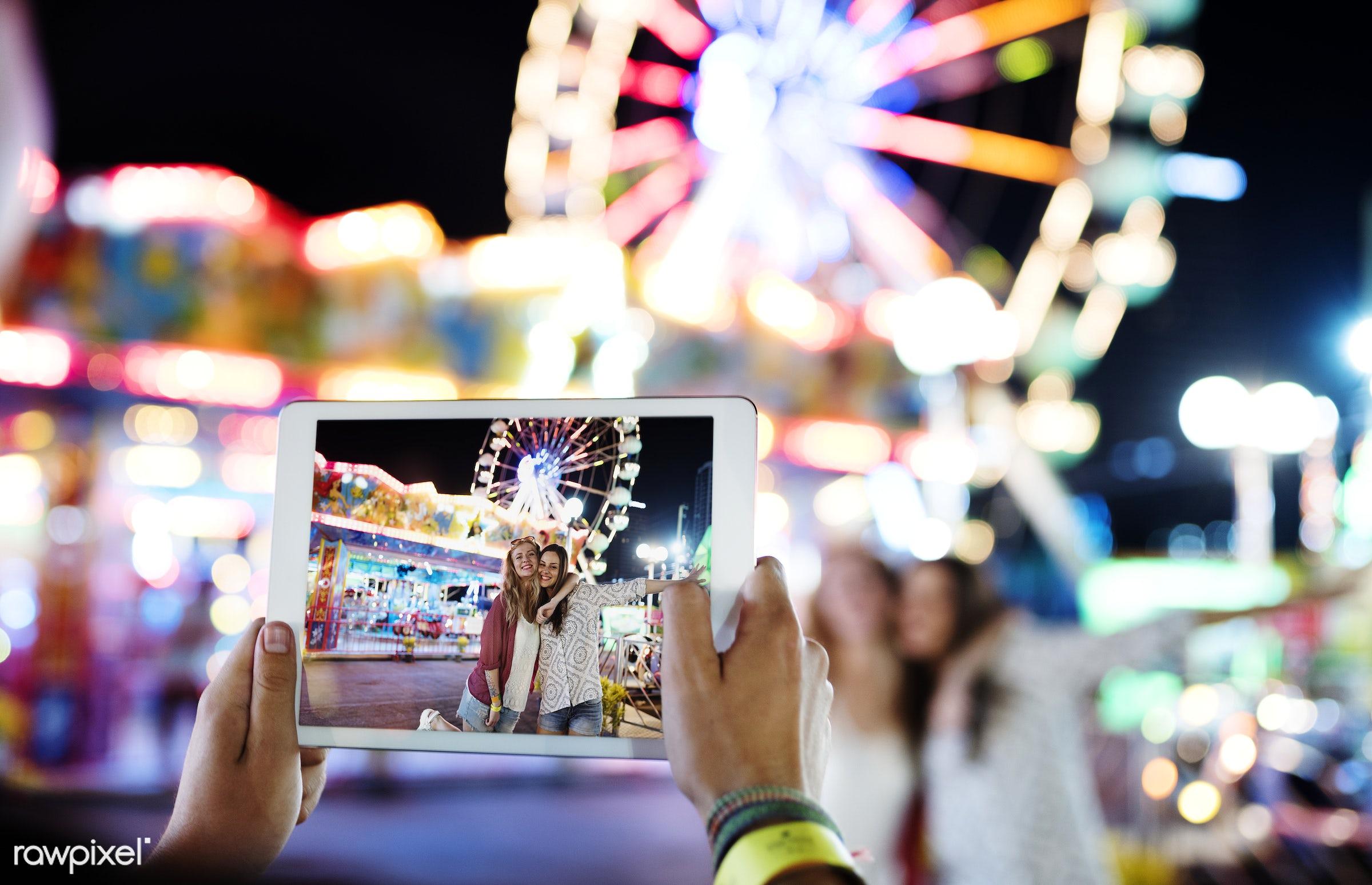 amusement park, caucasian, enjoyment, expression, feeling, friends, friendship, fun, fun park, group, happiness, people,...